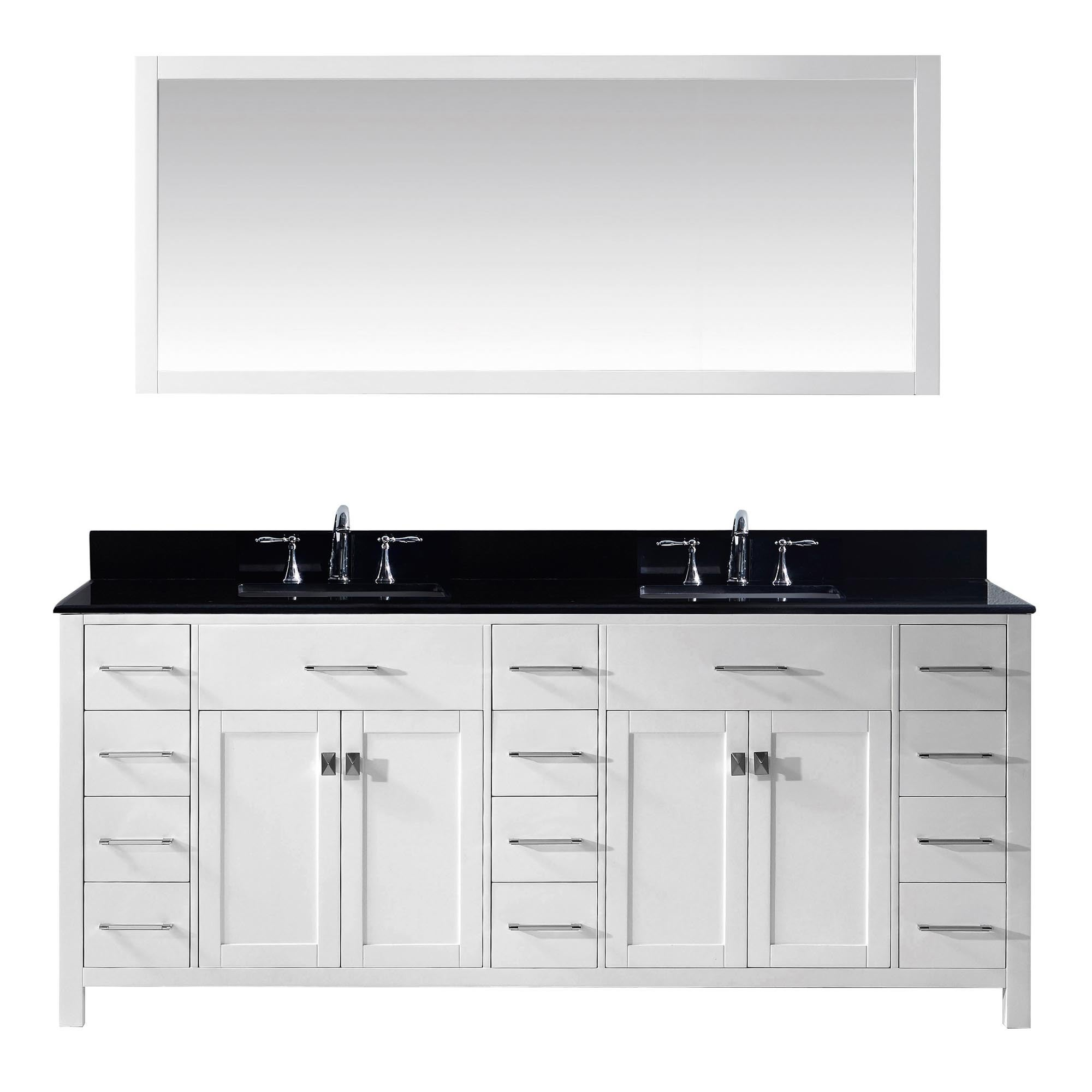 Shop Caroline Parkway 78-inch Double Vanity Black Granite Top - Free ...