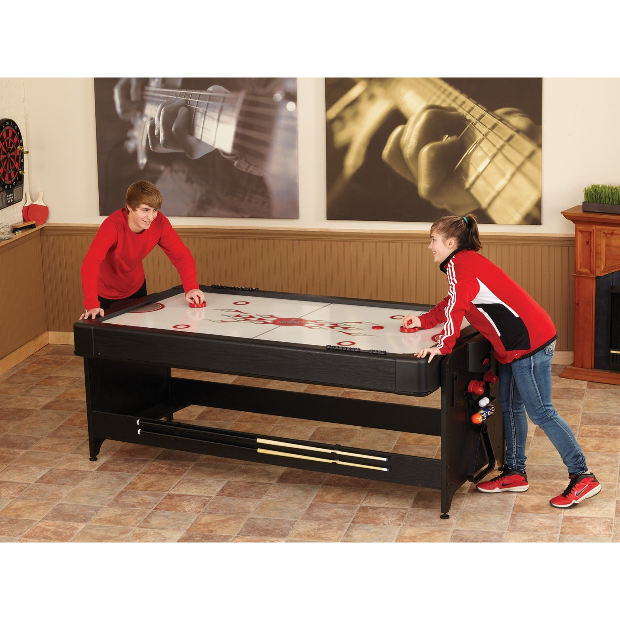 Exceptional Fat Cat 64 1010 Original 2 In 1 7 Foot Pockey Game Table (Billiards And Air  Hockey)   Black   Free Shipping Today   Overstock.com   18326519