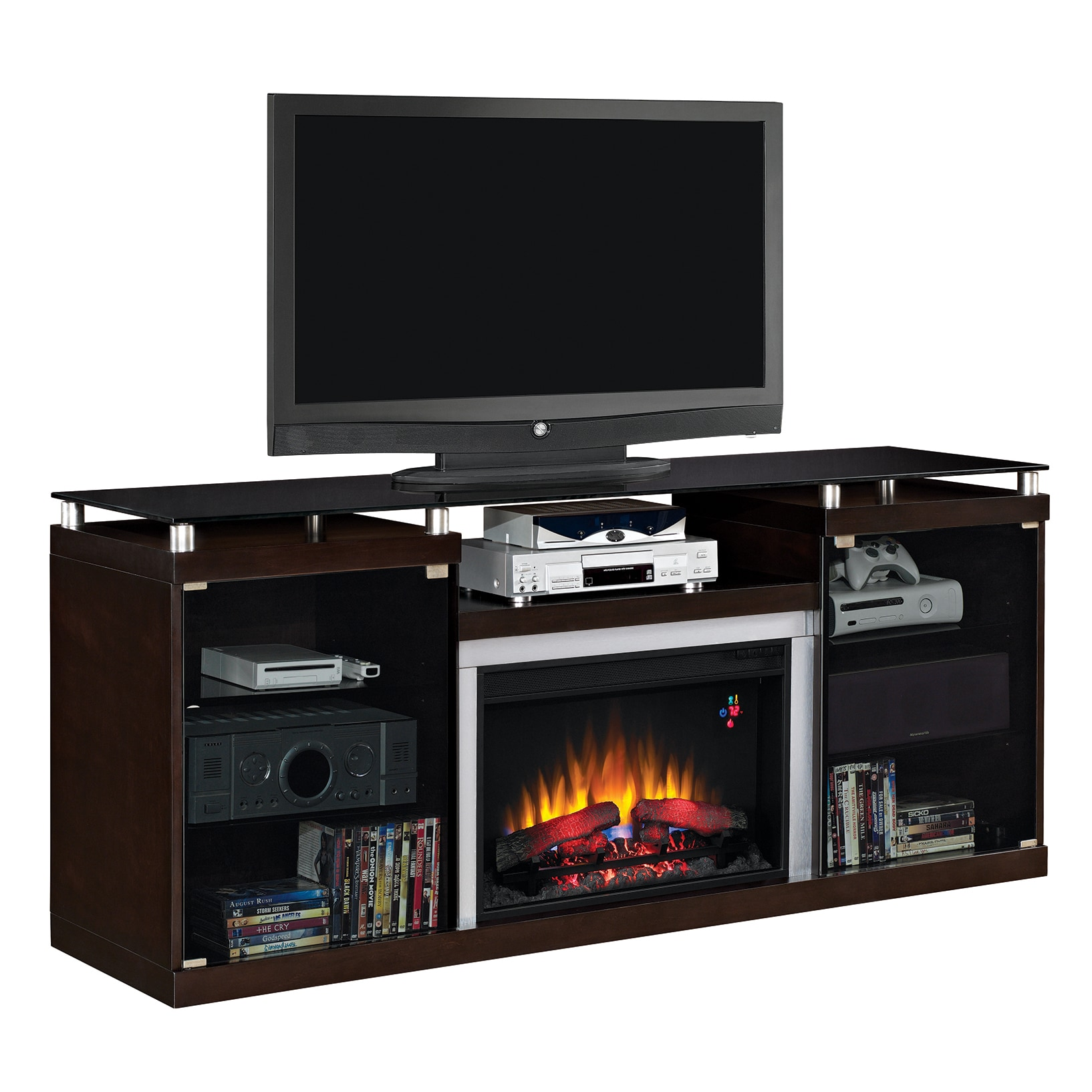 Shop Albright Tv Stand With 26 Inch Electric Fireplace  Espresso