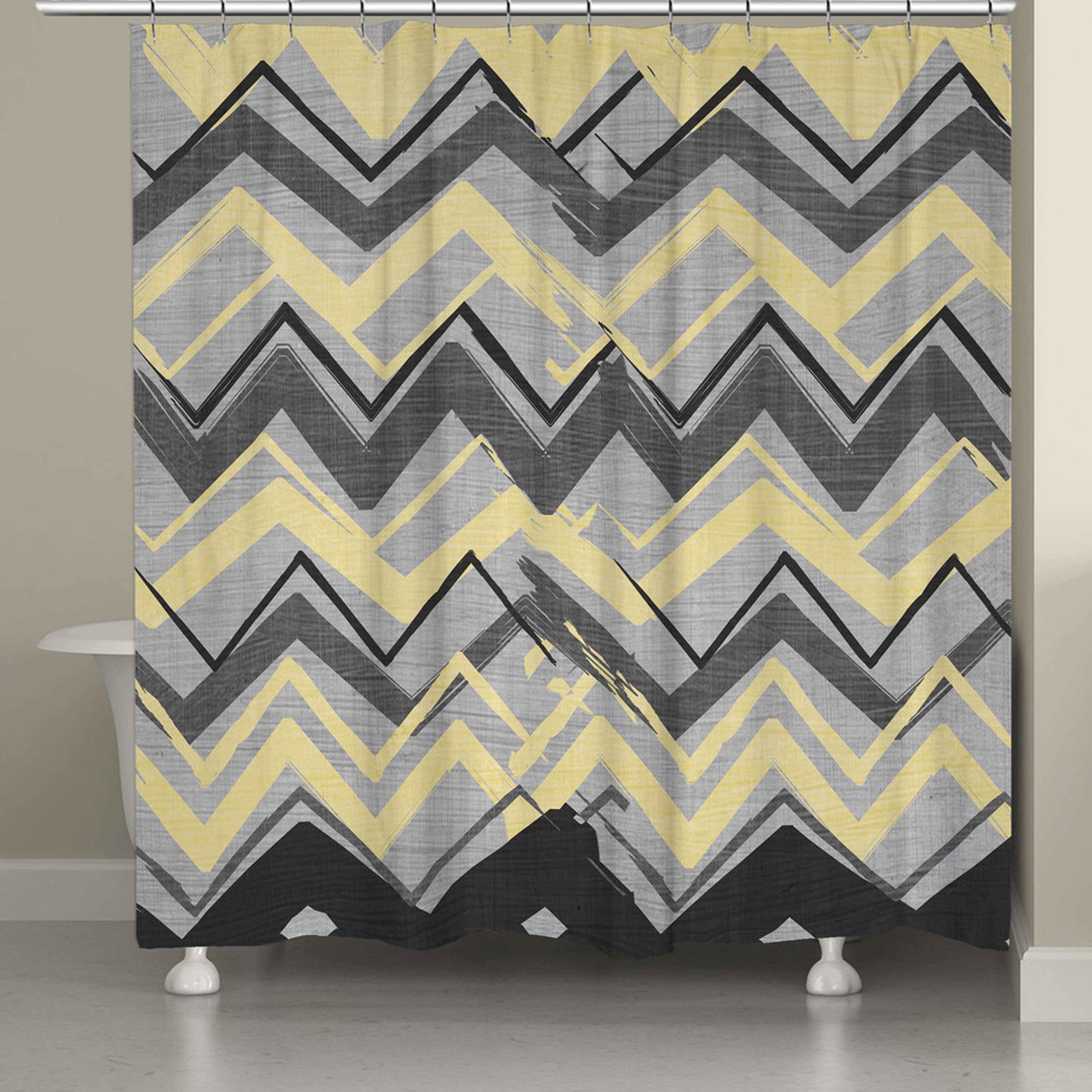 Shop Laural Home Yellow And Grey Chevron Shower Curtain
