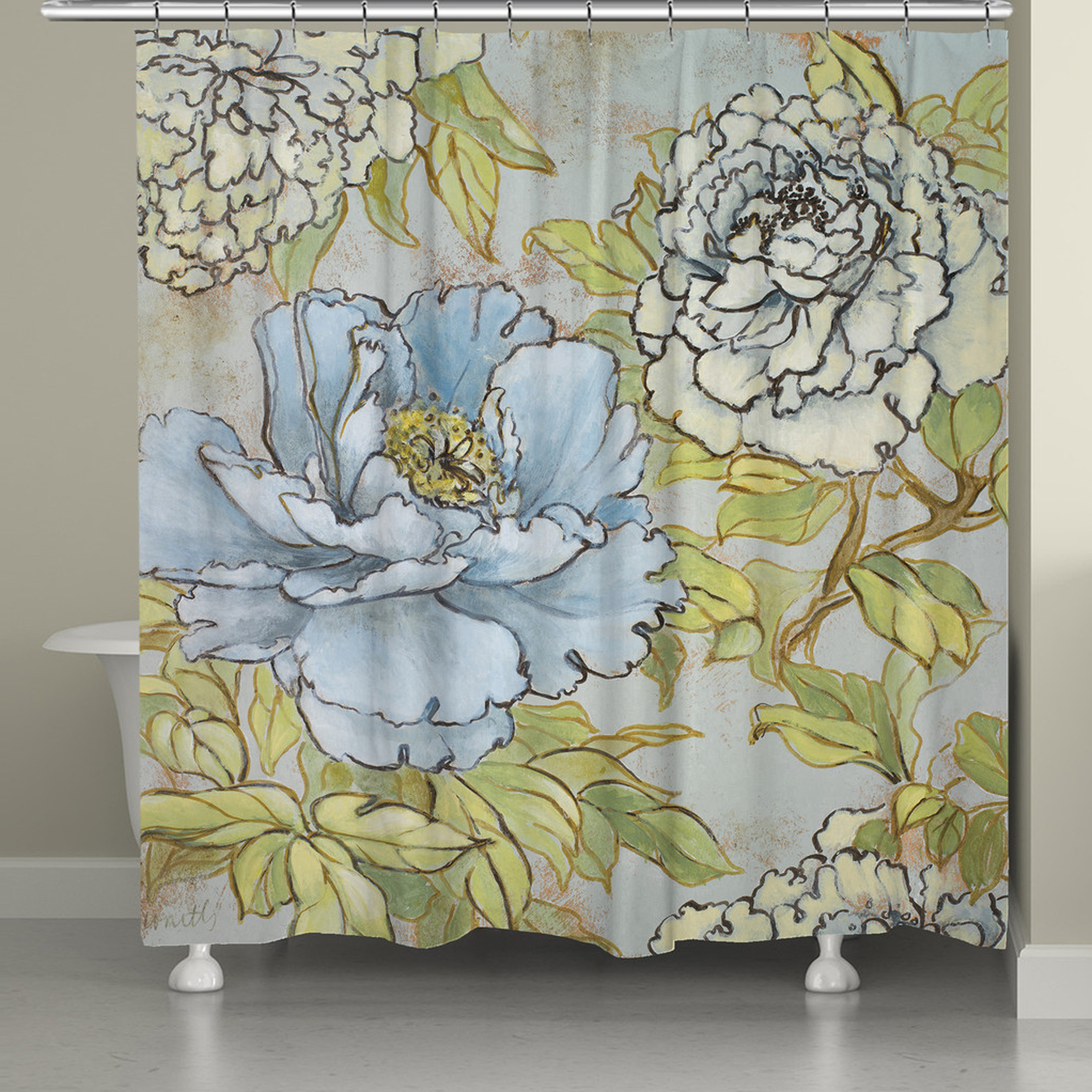 Shop Laural Home Peony Garden Shower Curtain