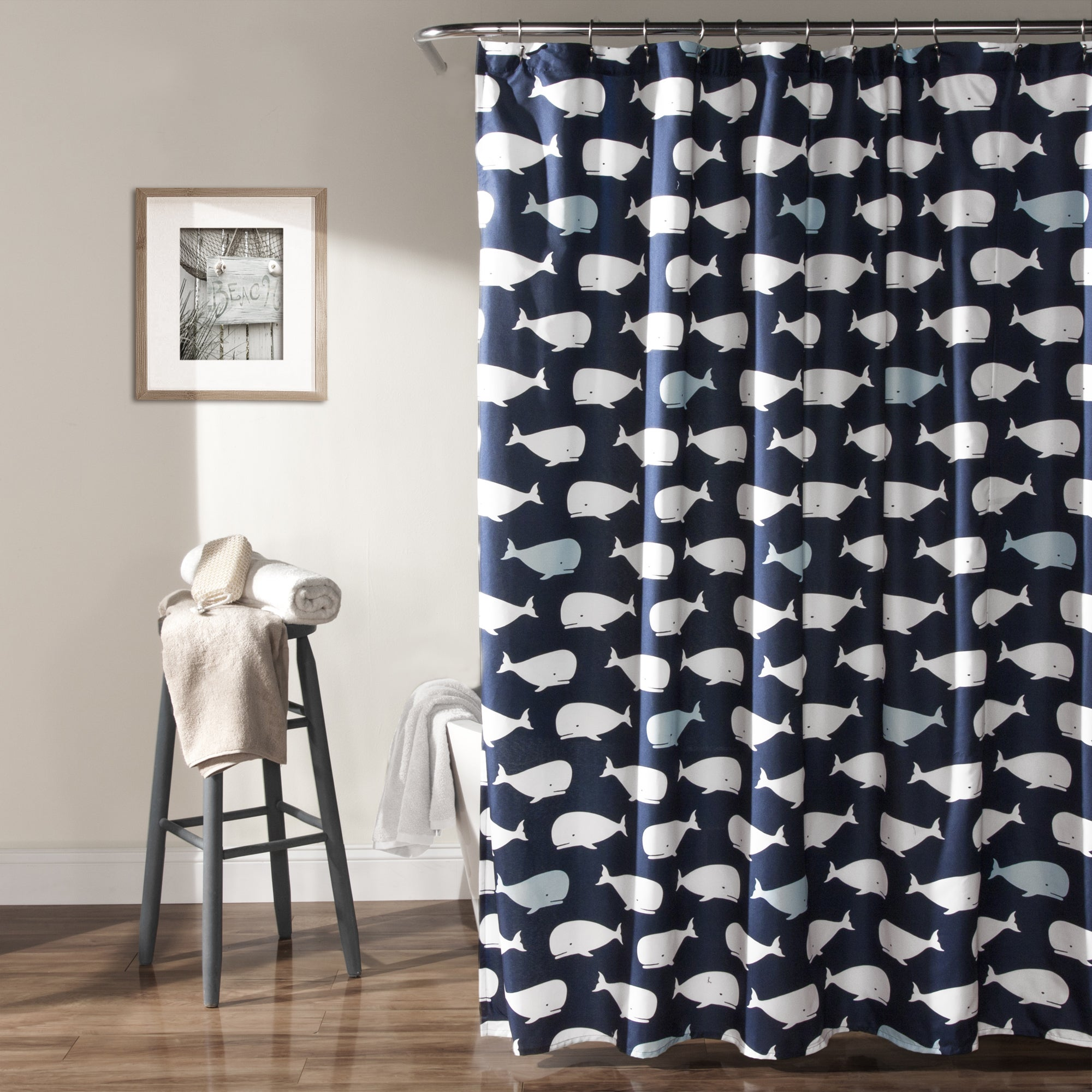 Lush Decor Navy Whale Shower Curtain - Free Shipping On Orders Over $45 -  Overstock.com - 18337523