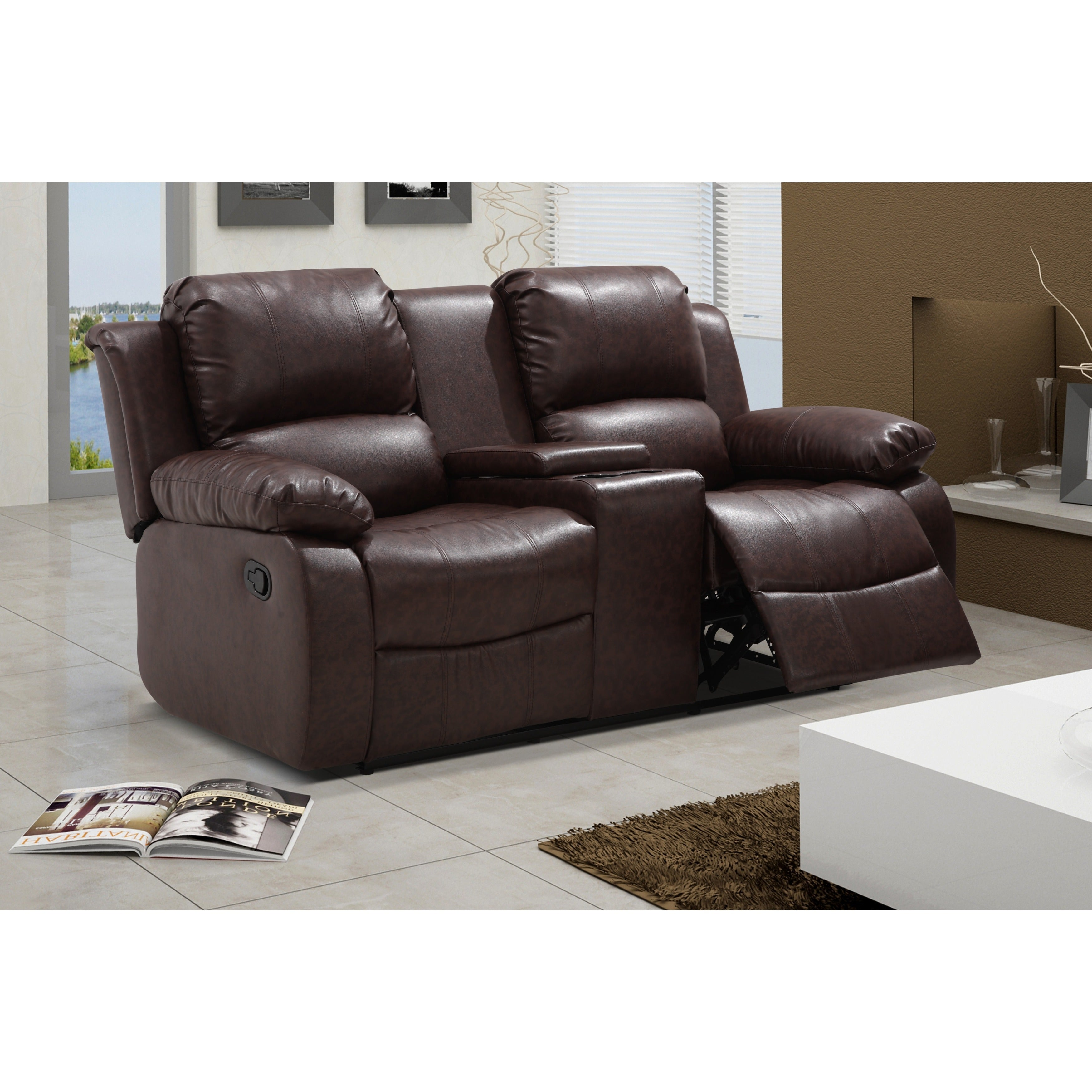 Madison Bonded Leather Reclining Sectional Sofa Set With Drop Down  ~ Sofa Set With Center Table