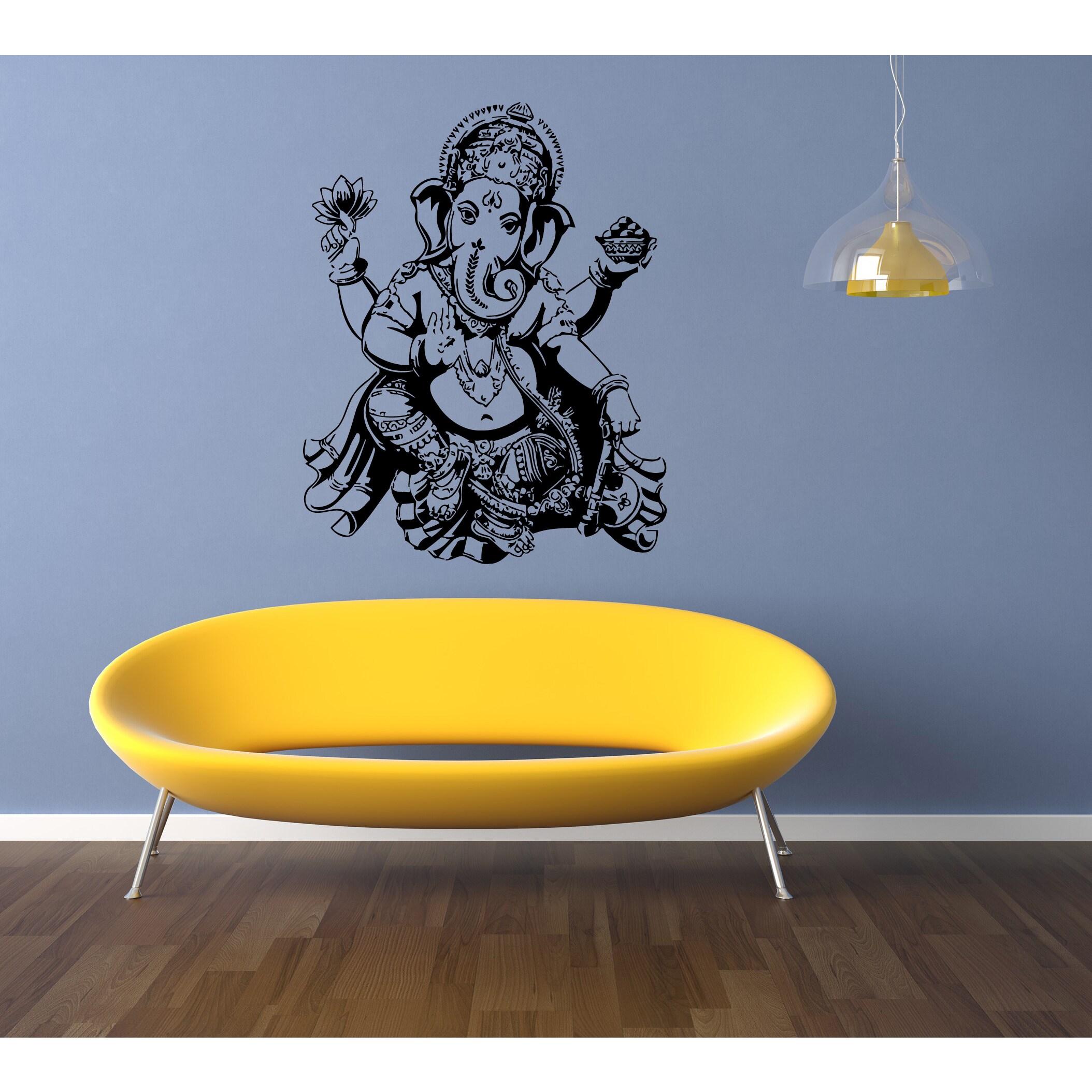 Shop Ganesha Ganapati India Elephant Beautiful flower Wall Art ...