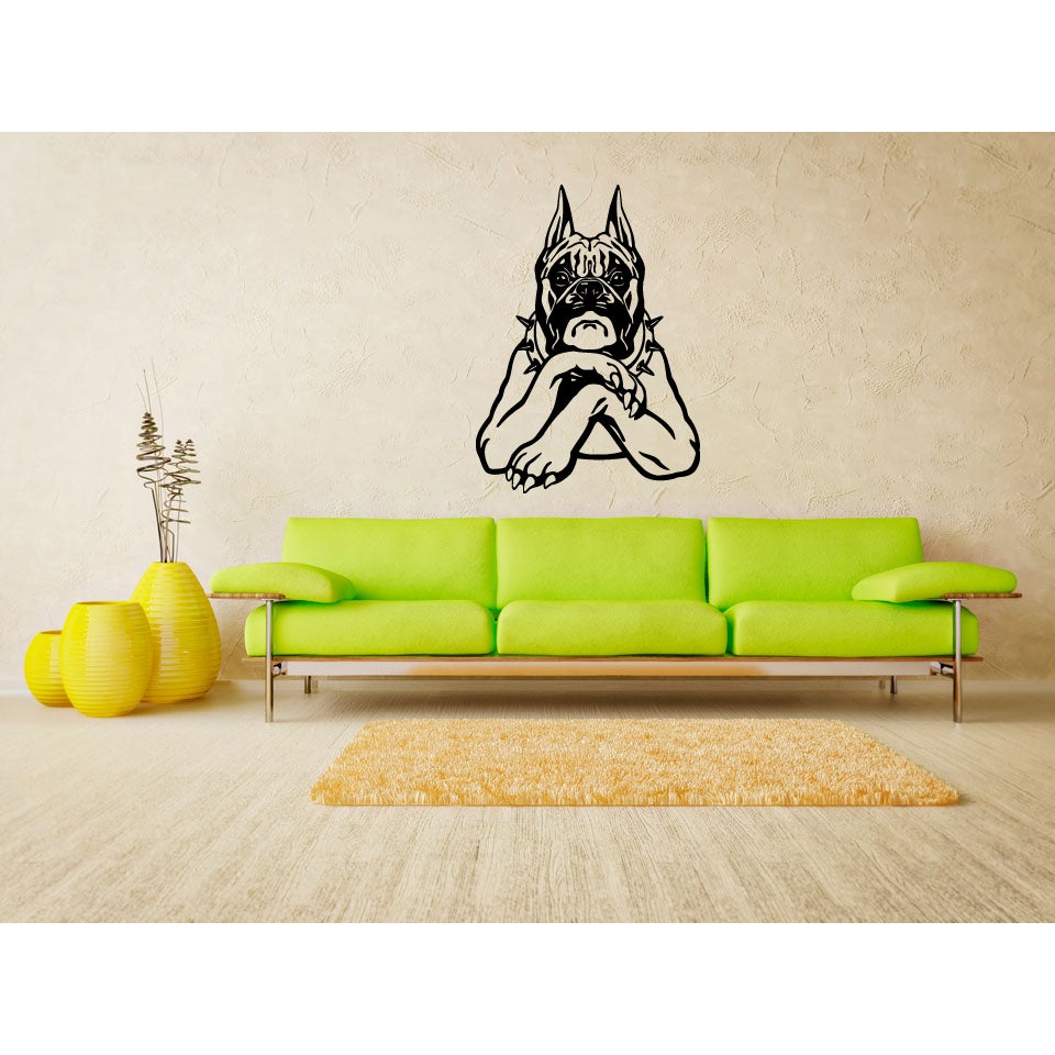 Boxer Funny Dog Pet Wall Art Sticker Decal - Free Shipping On Orders ...