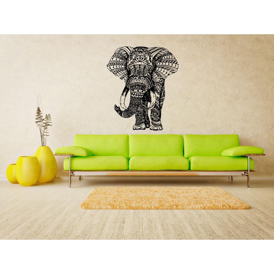 Mandala Elephant Wall Art Sticker Decal - Free Shipping On Orders ...