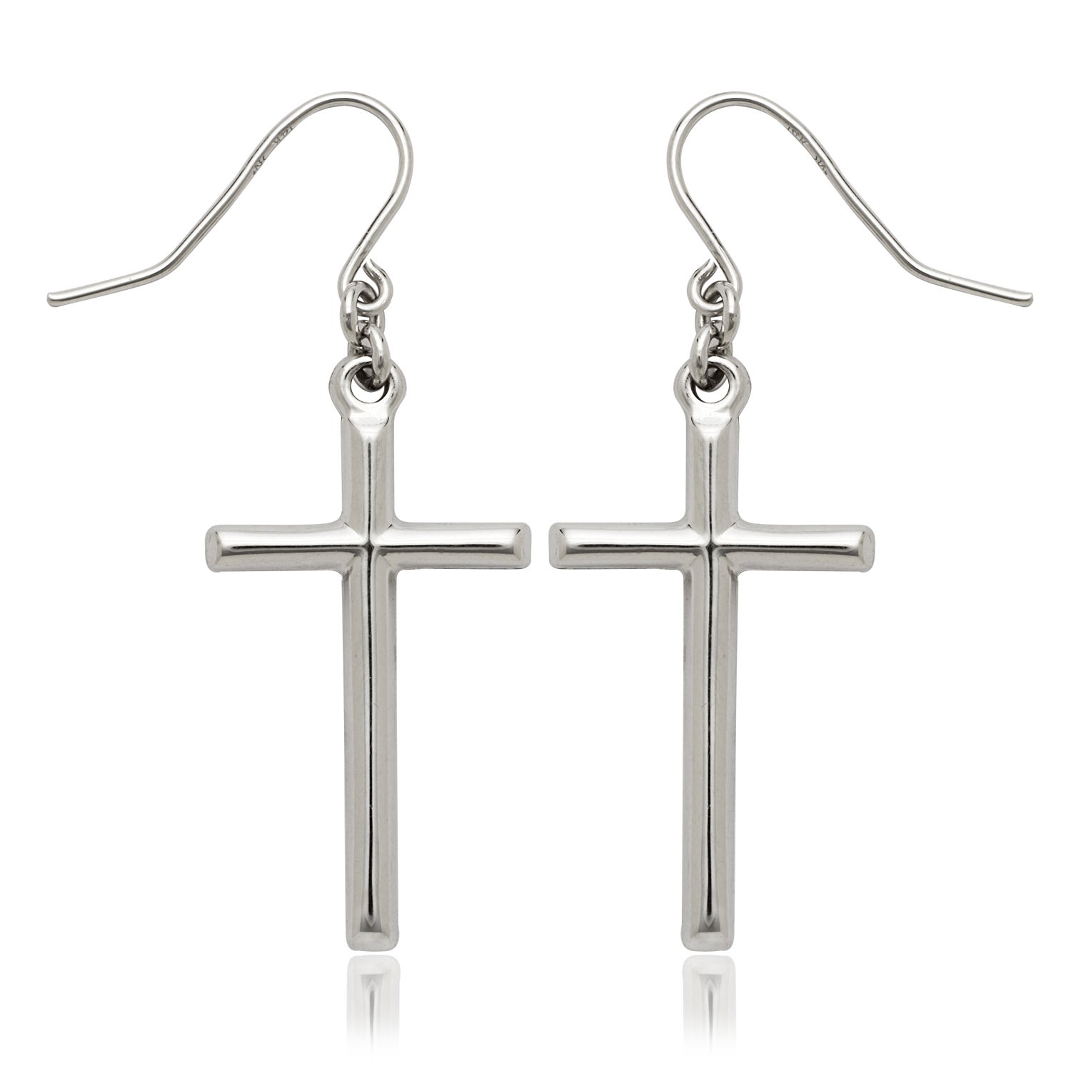 14k White Gold Cross Dangle Drop Wire Earrings On Free Shipping Today 11373413