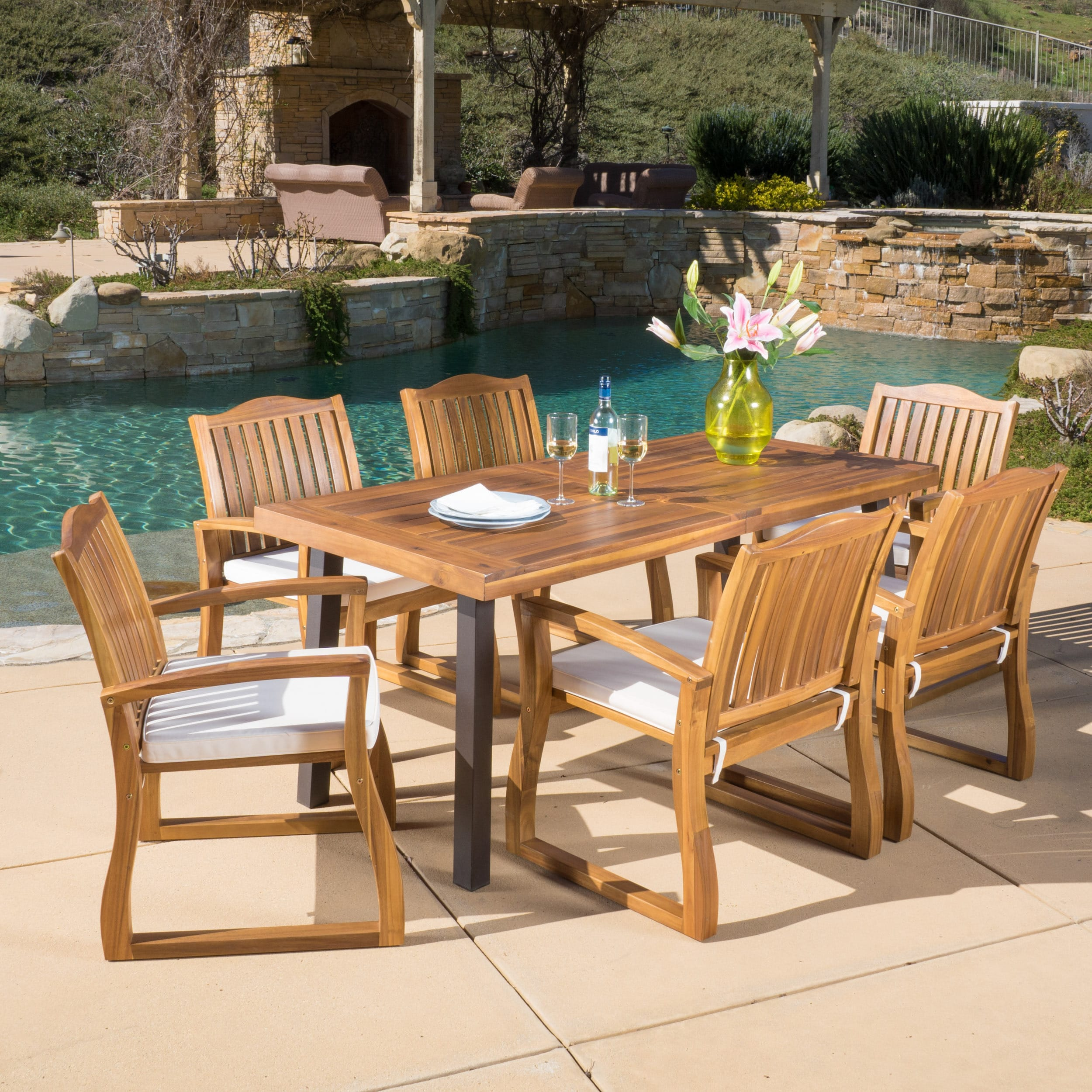 Shop Della Outdoor 7 Piece Acacia Wood Dining Set With Cushions By  Christopher Knight Home   Free Shipping Today   Overstock.com   11373483