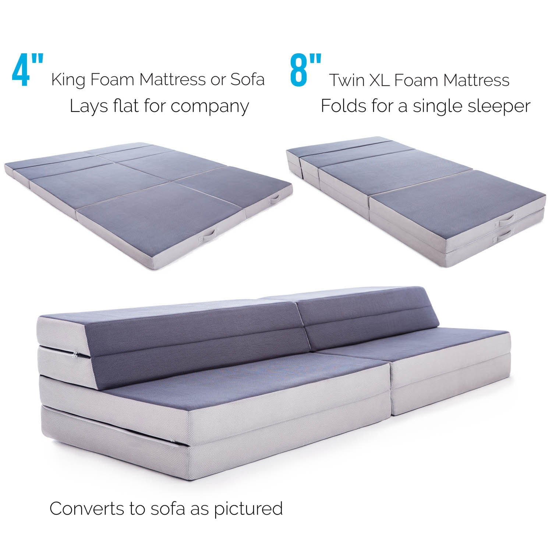 Lucid Convertible Folding Foam Sofa Bed