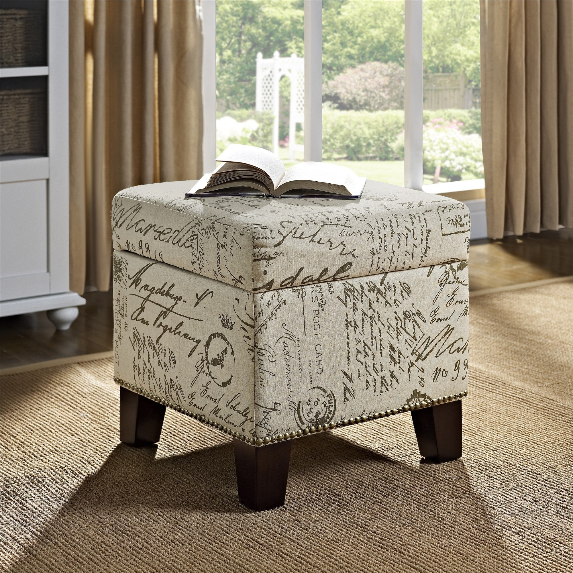 Dorel Living Blake Whitebrown Fabricwood Script Cube Ottoman  Free