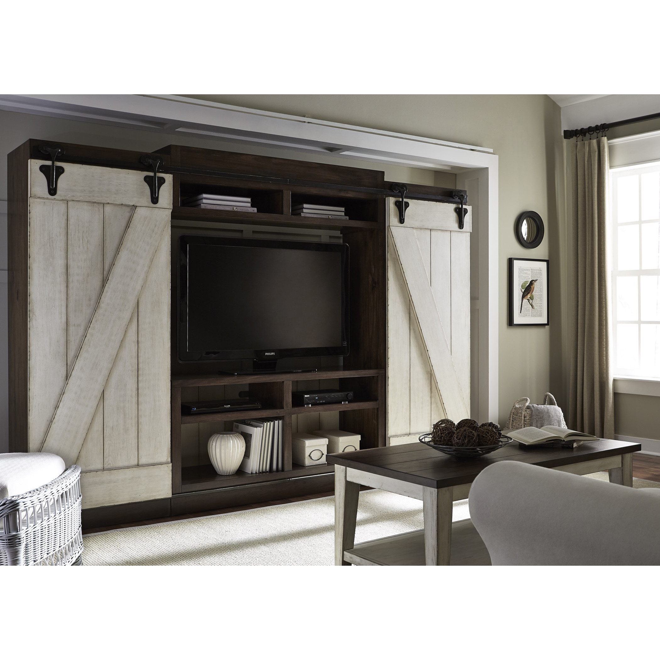 Shop lancaster weathered bark and white entertainment center with piers on sale free shipping today overstock com 11375272