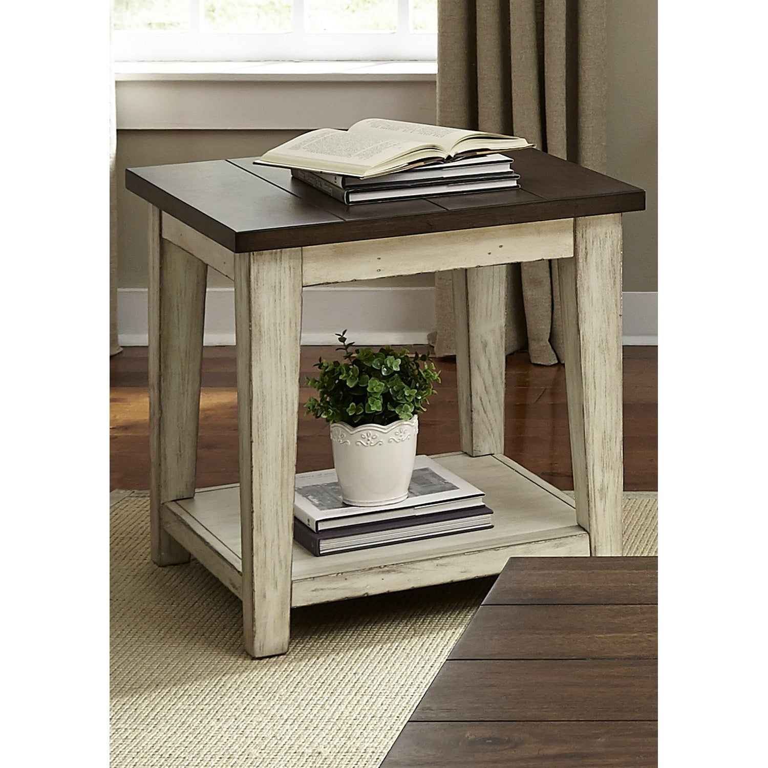 Lancaster Weathered Bark and White End Table Free Shipping Today