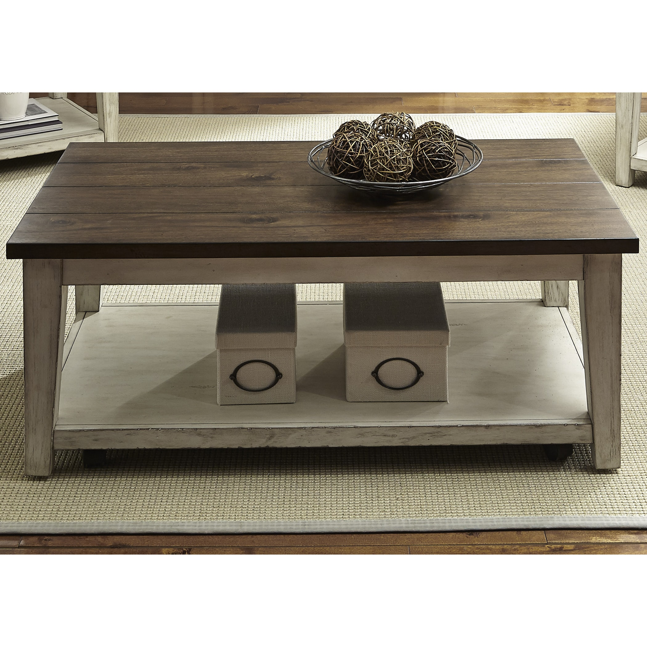 Lancaster Weathered Bark and White Castered Cocktail Table Free