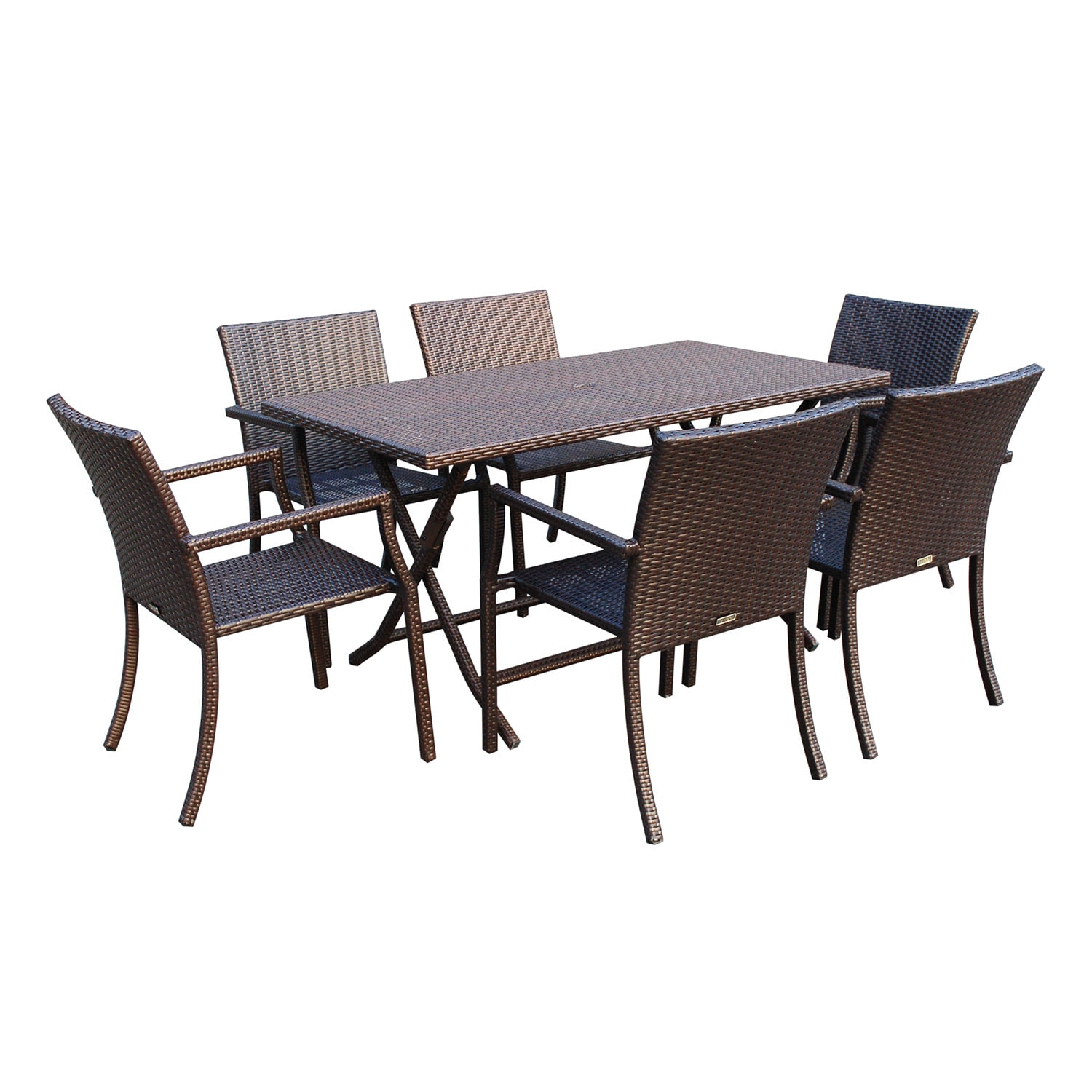 7 Piece Cafe Resin Wicker Dining Set Free Shipping Today 11375803