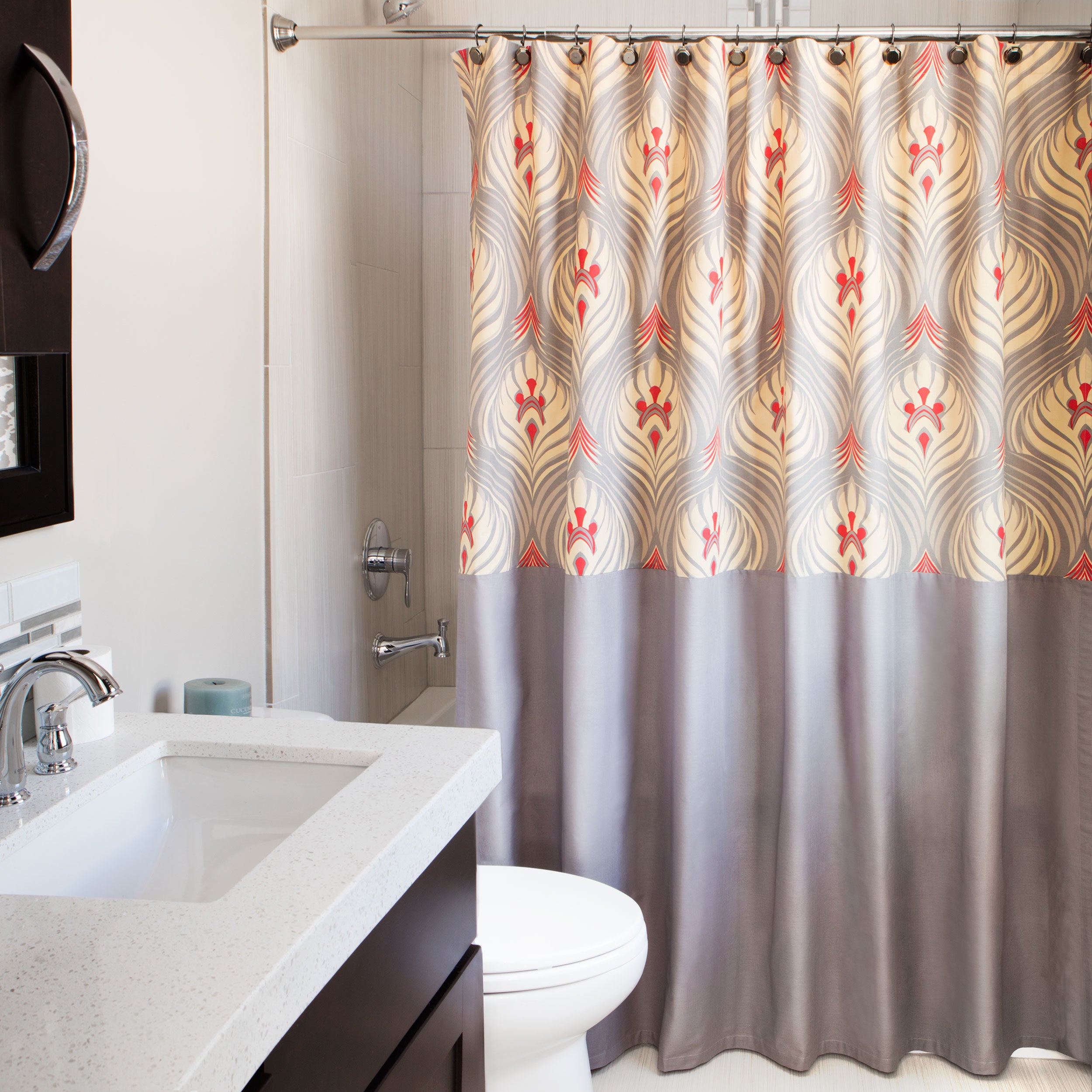 Shop Andrew Charles Ogee Collection 72-inch Grey/ Red/ Gold Shower ...