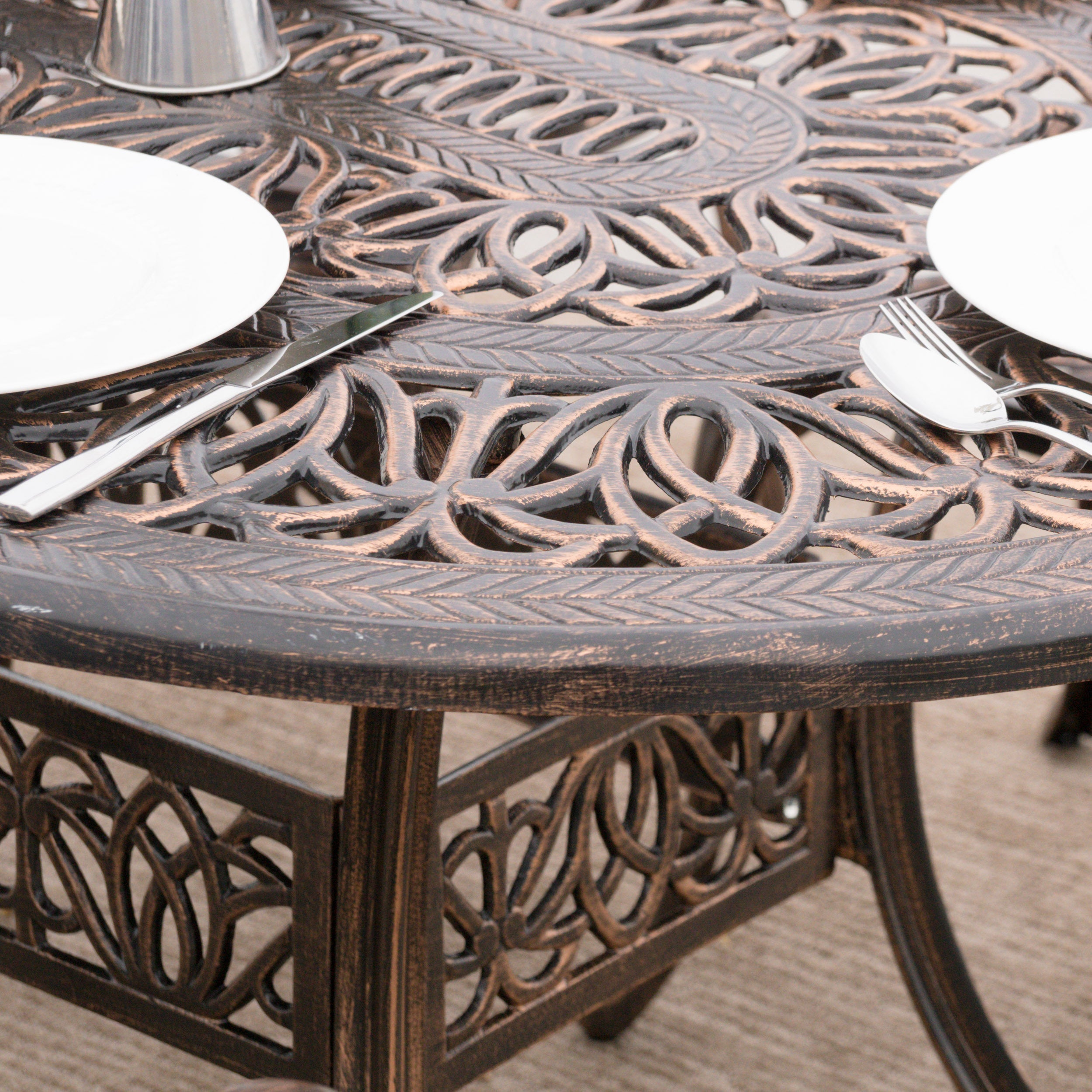 Haitian Outdoor Cast Aluminum Oval Dining Table (ONLY) By Christopher  Knight Home   Free Shipping Today   Overstock.com   18351162