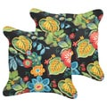 Selena Black Tropical Indoor/ Outdoor Corded Square Pillows (Set of 2)