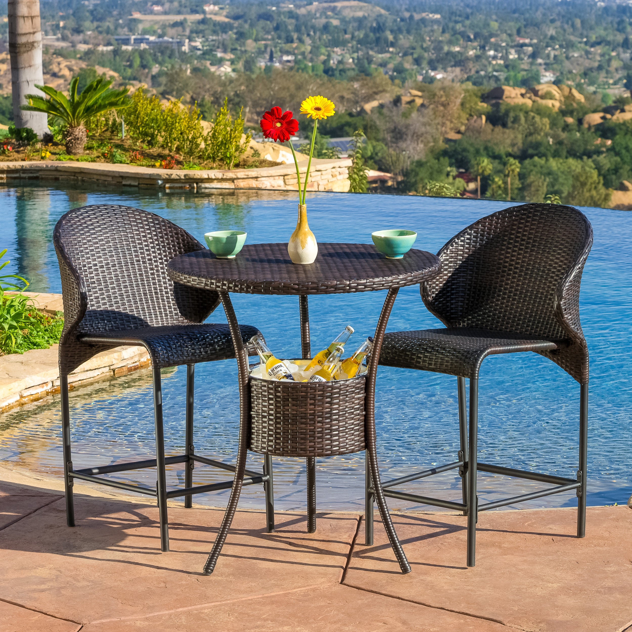 Oyster Bay Outdoor Wicker Round Bar Table ONLY with Ice Pail by