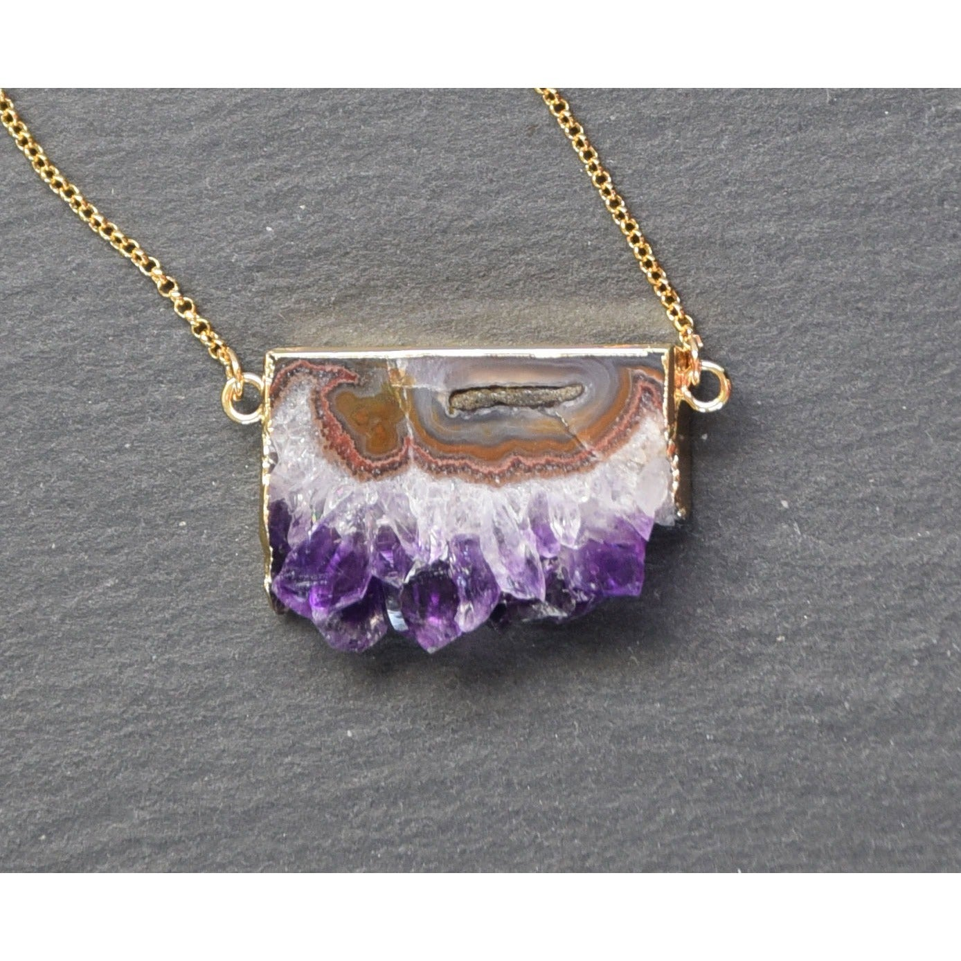 raw necklace triple gold amethyst pendant electroplated pin in