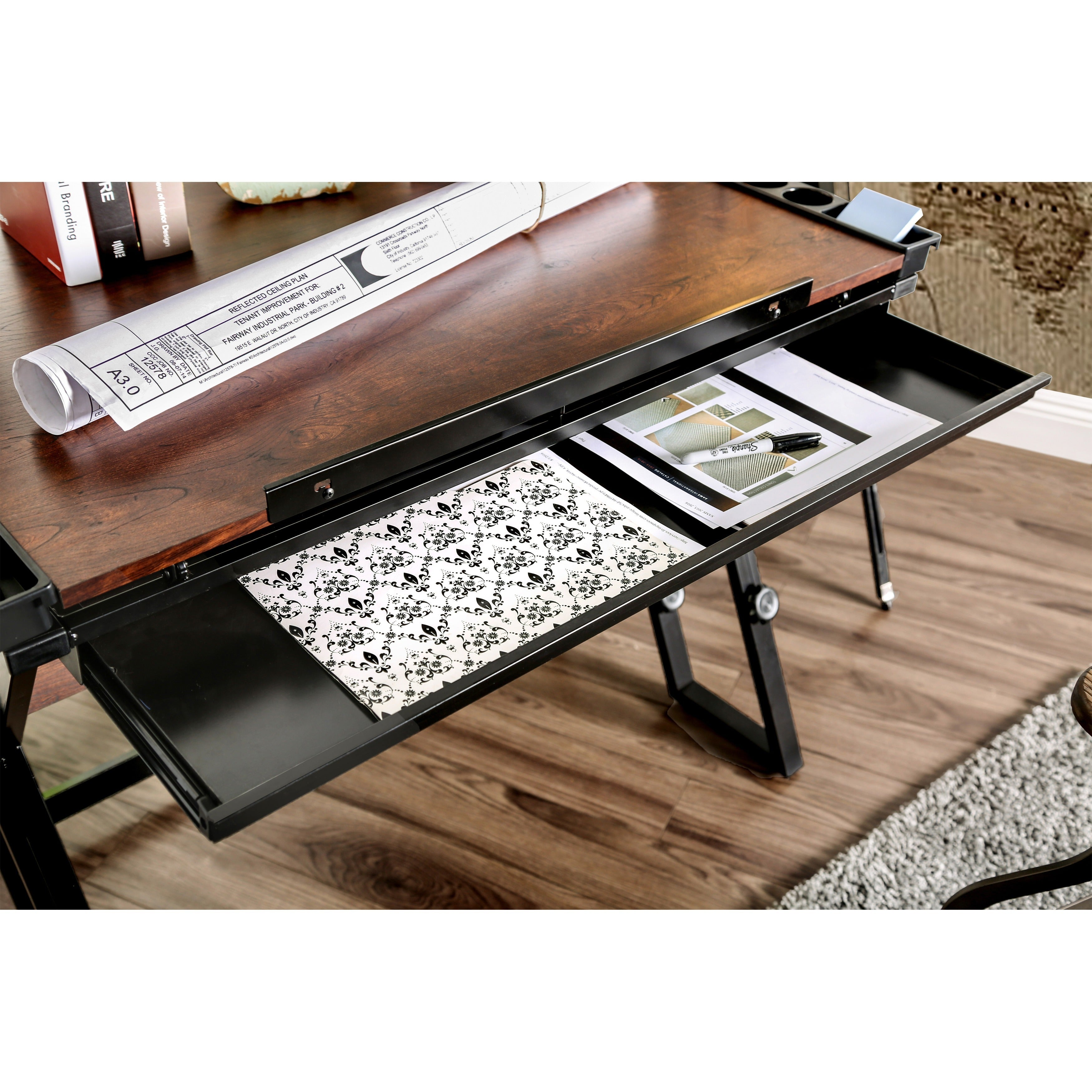 Furniture Of America Robbie Modern Height Adjule Black Espresso Drafting Desk Free Shipping Today 11390133