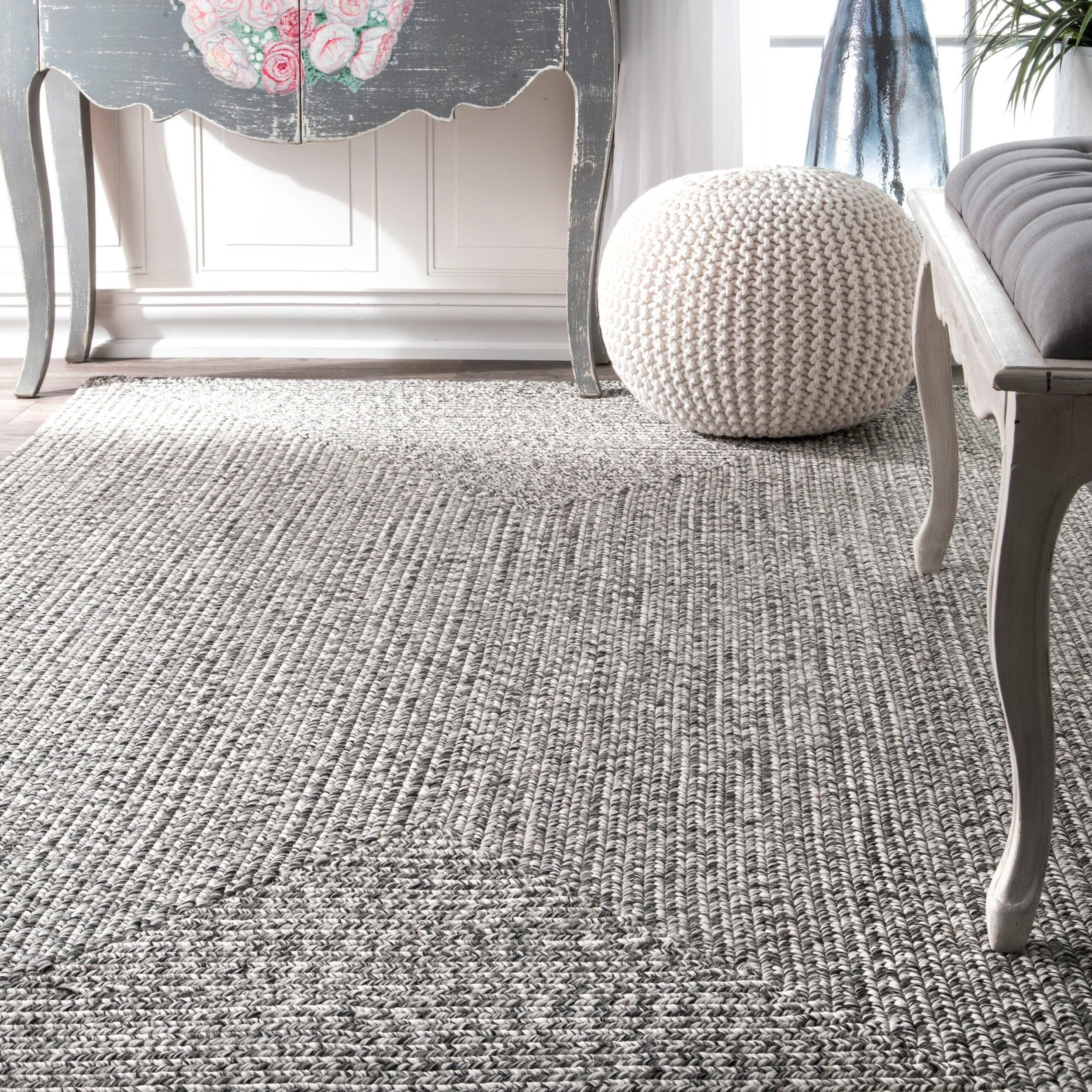 nuLoom Grey Indoor/ Outdoor Braided Area Rug (4' x 6') - Free Shipping  Today - Overstock.com - 18357568