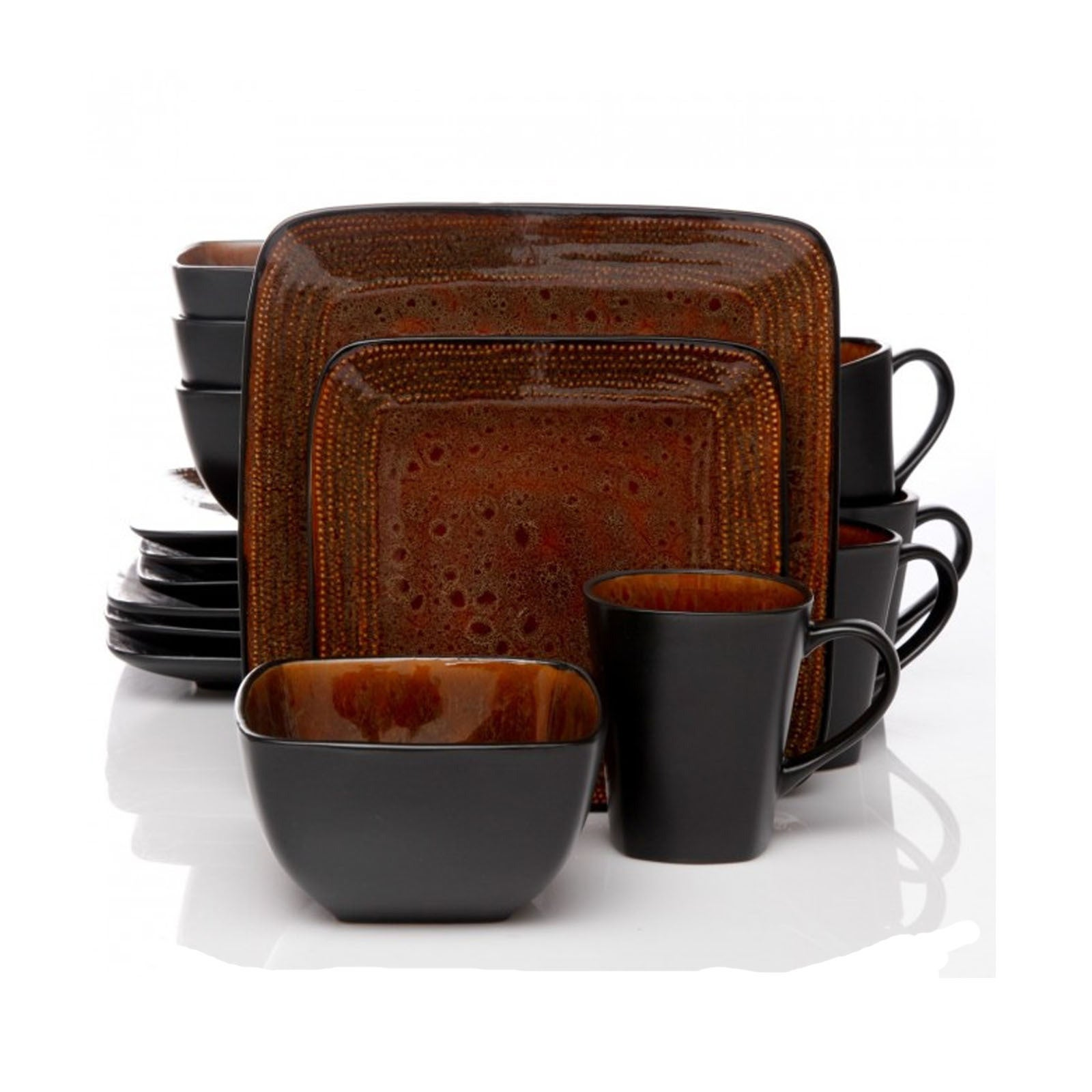 Shop Atlas Textured Brown and Black 16-piece Dinnerware Set (Service ...