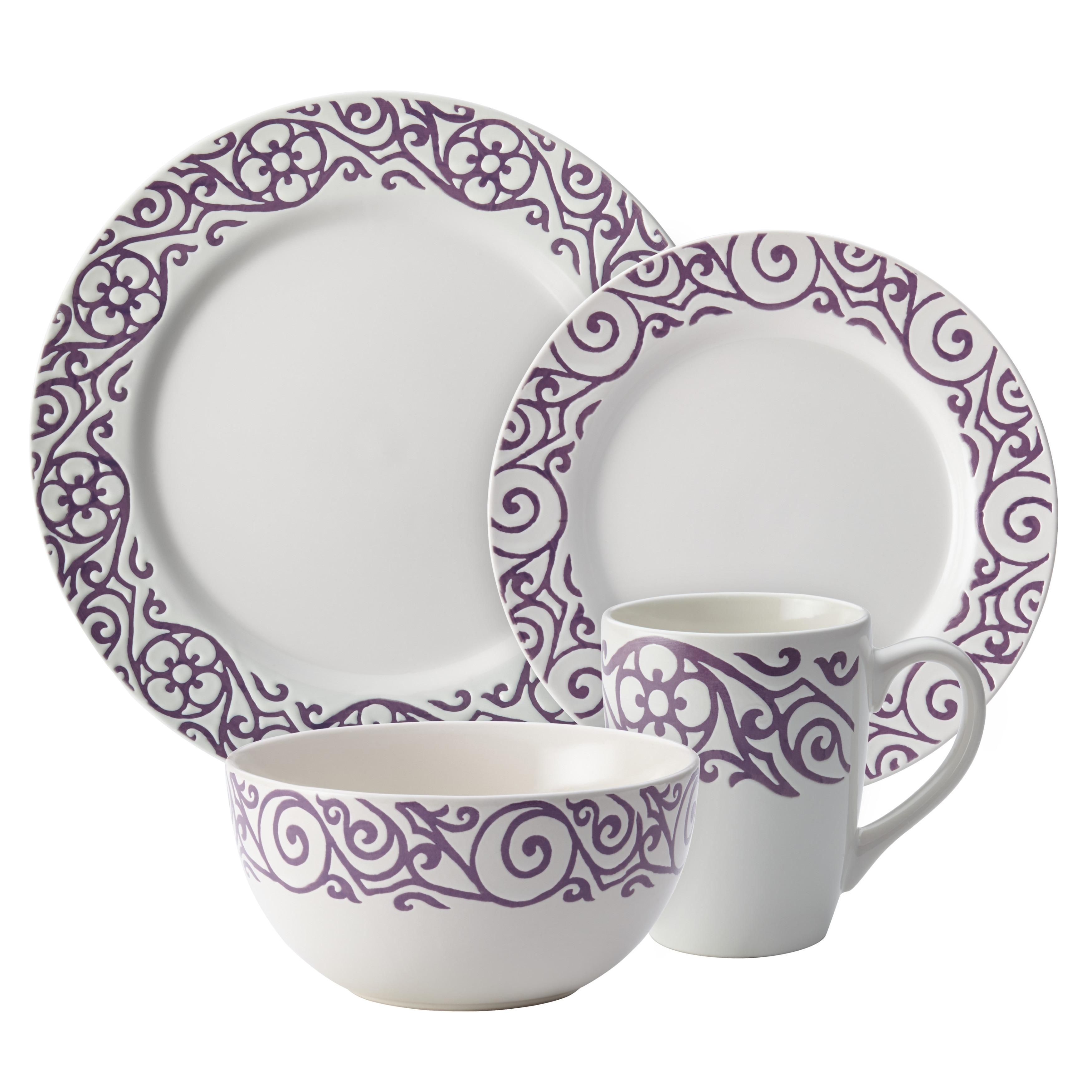Rachael Ray Dinnerware 16-Piece Scroll Stoneware Dinnerware Set Lavender - Free Shipping Today - Overstock - 18358051  sc 1 st  Overstock.com & Rachael Ray Dinnerware 16-Piece Scroll Stoneware Dinnerware Set ...