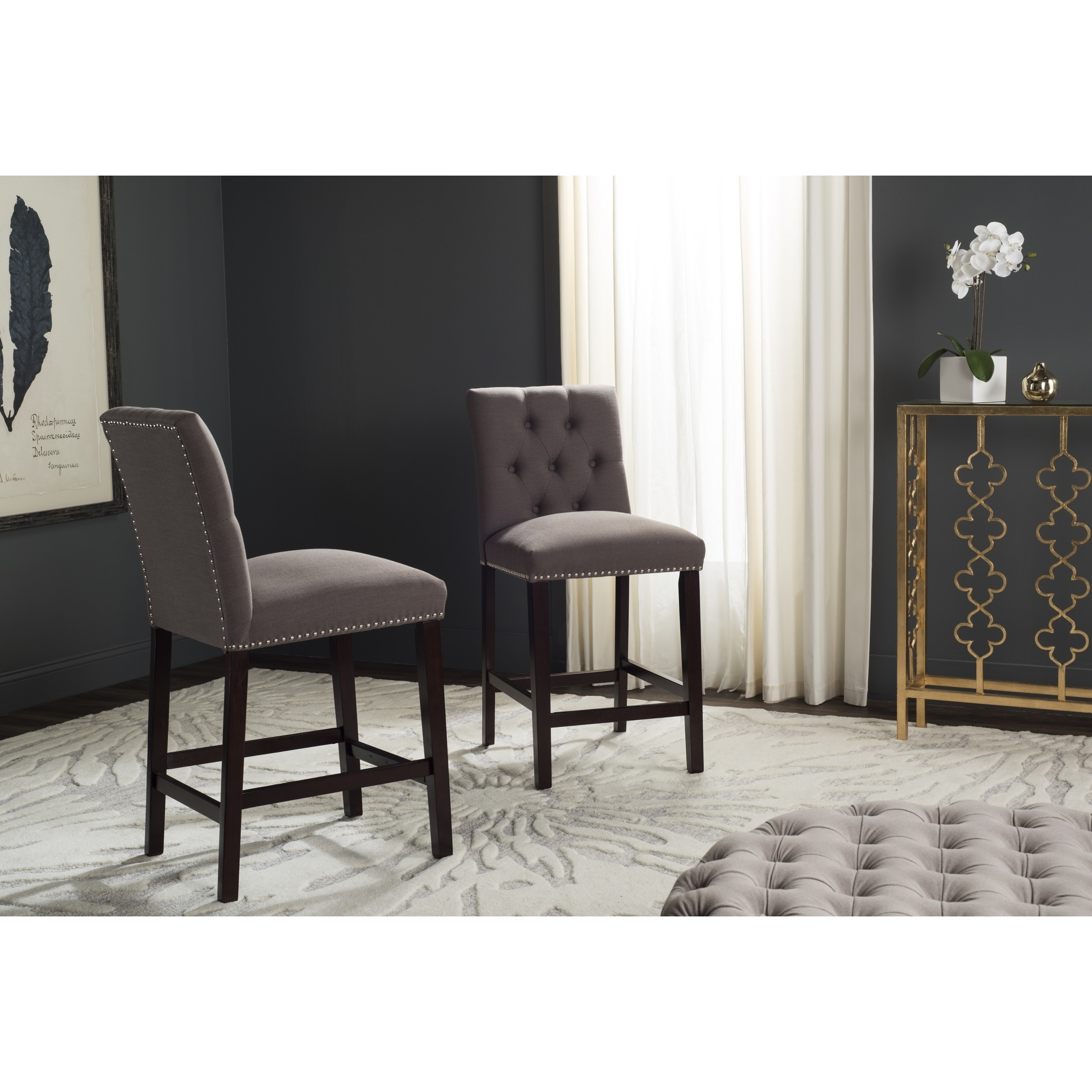 Safavieh Norah Dark Taupe Counter Stool (Set of 2) - Free Shipping Today -  Overstock.com - 18358331