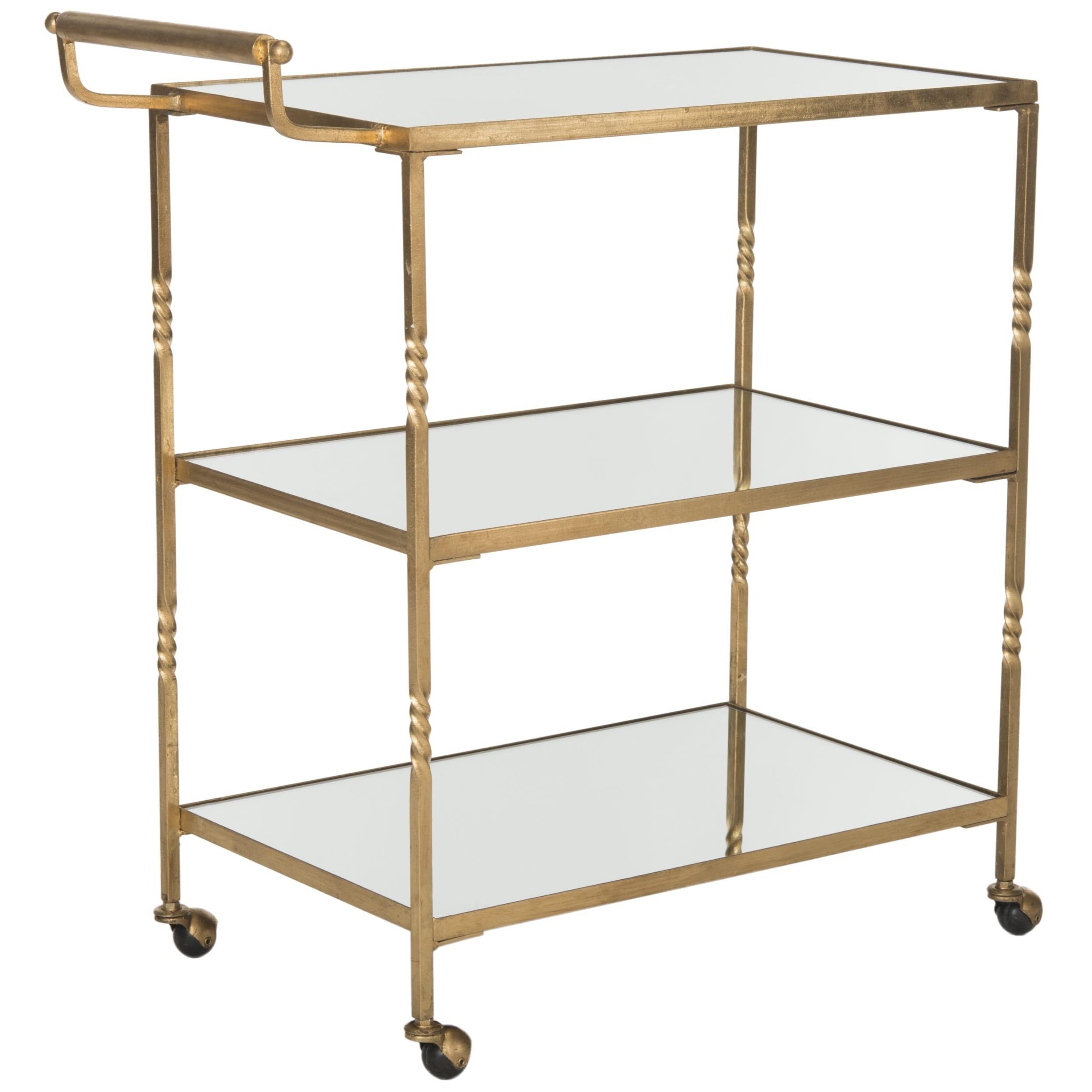 Safavieh Aurelius Gold Mirror Top Bar Cart Free Shipping Today 11391275