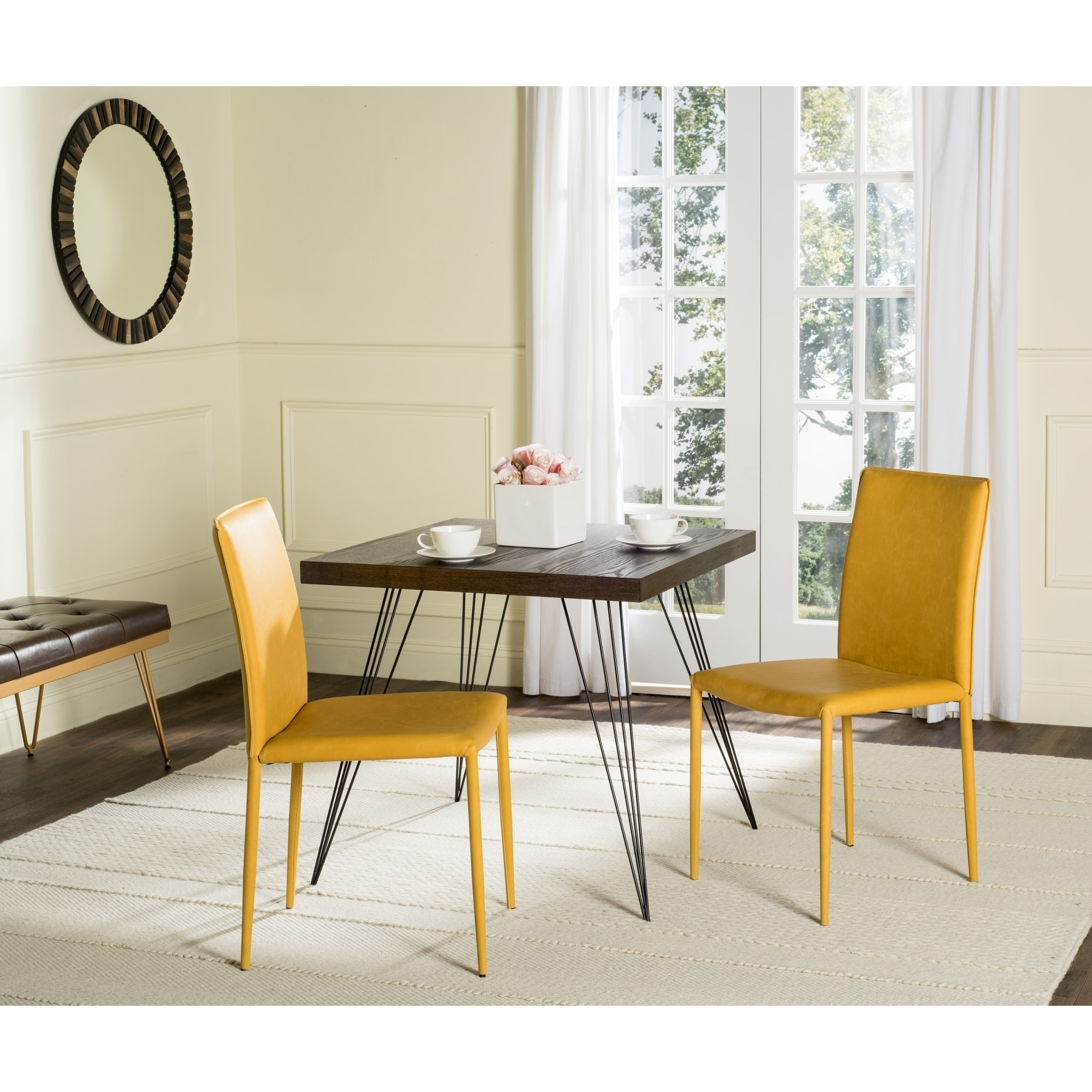 dining yellow chairs shelves room vivacious top pops colorful with accents modern along table subtle black the steal chair floating show open of