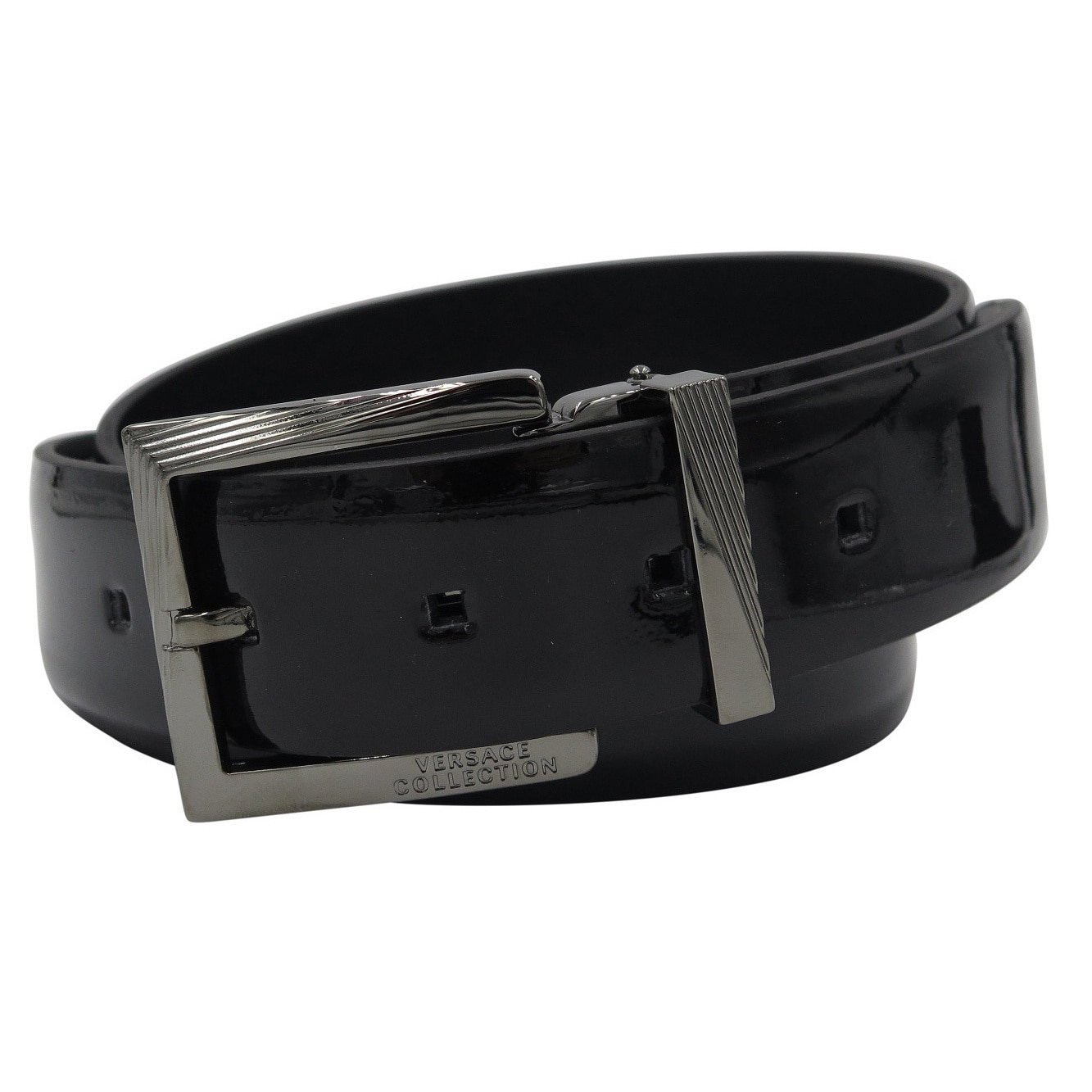Shop Versace Collection Black Patent Leather Adjustable Belt - Free  Shipping Today - Overstock.com - 11404585 f893b731db2
