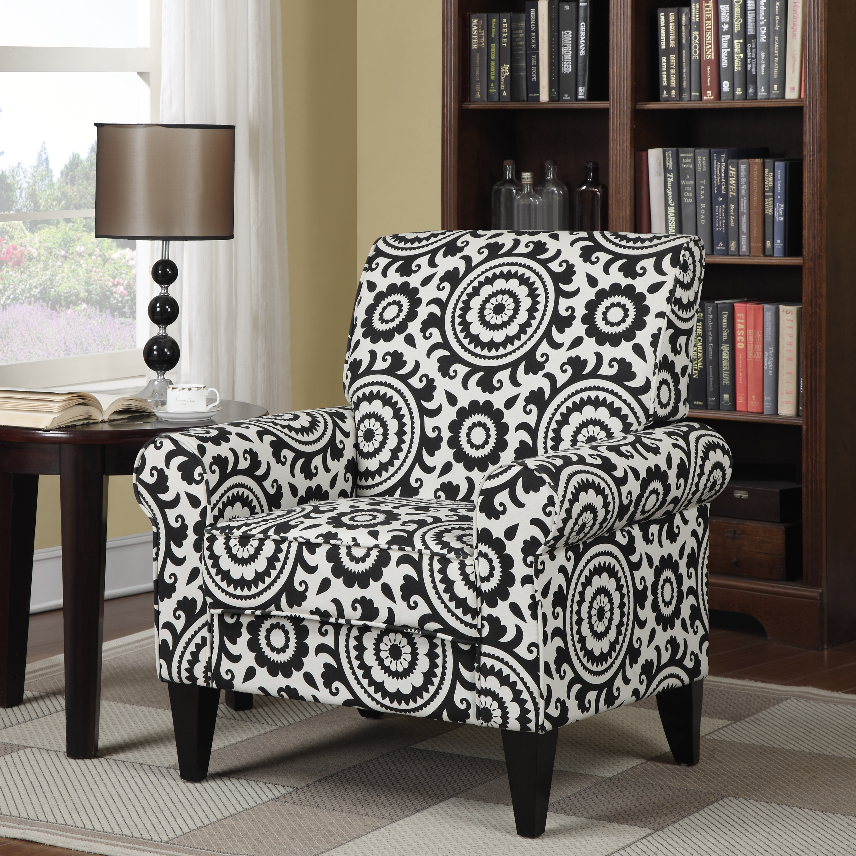 Shop Clay Alder Home Union Black Medallion Arm Chair - On Sale - Free Shipping Today - Overstock.com - 20255031 & Shop Clay Alder Home Union Black Medallion Arm Chair - On Sale ...