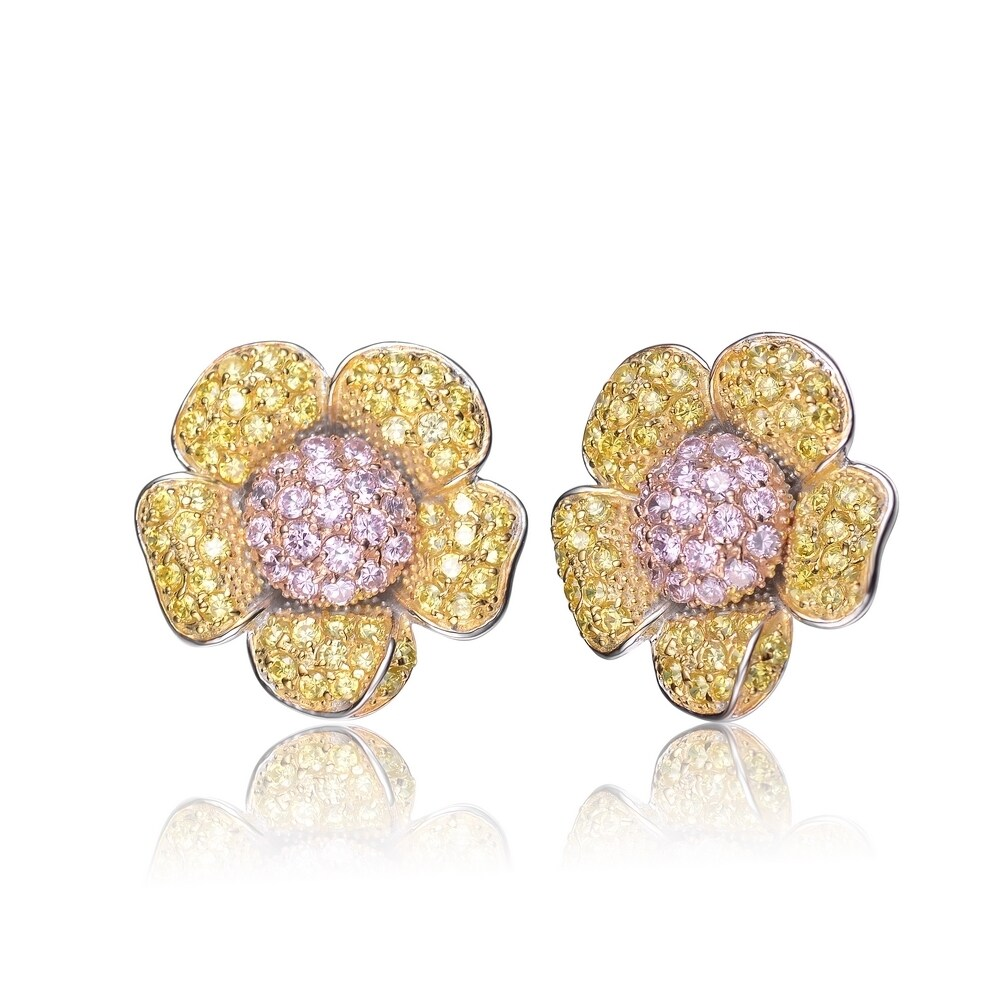 Shop Collette Z Sterling Silver Pink And Yellow Cubic Zirconia
