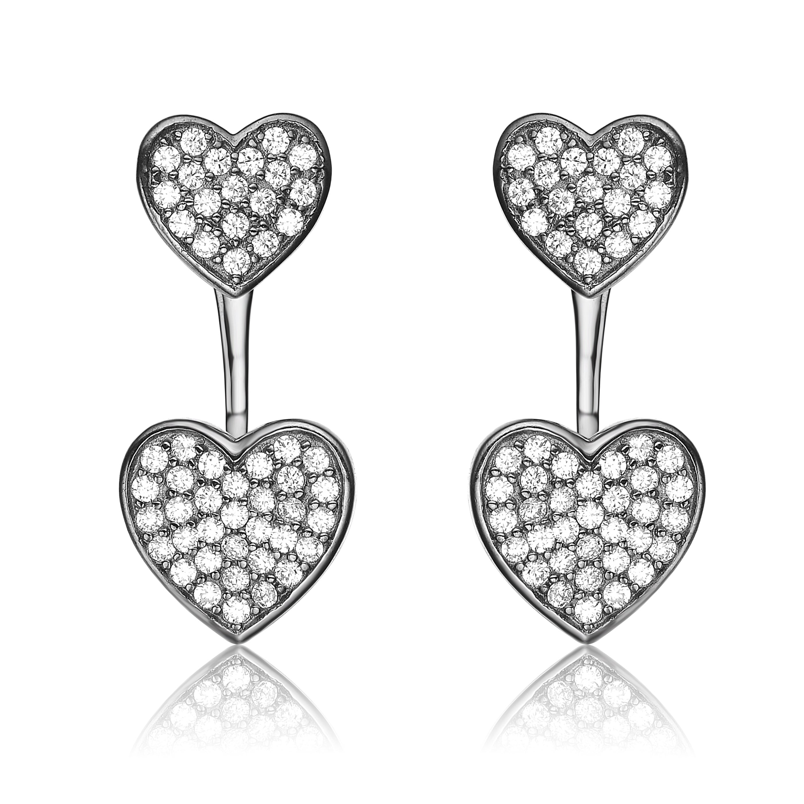 Shop Collette Z Sterling Silver Cubic Zirconia Double Heart Jacket