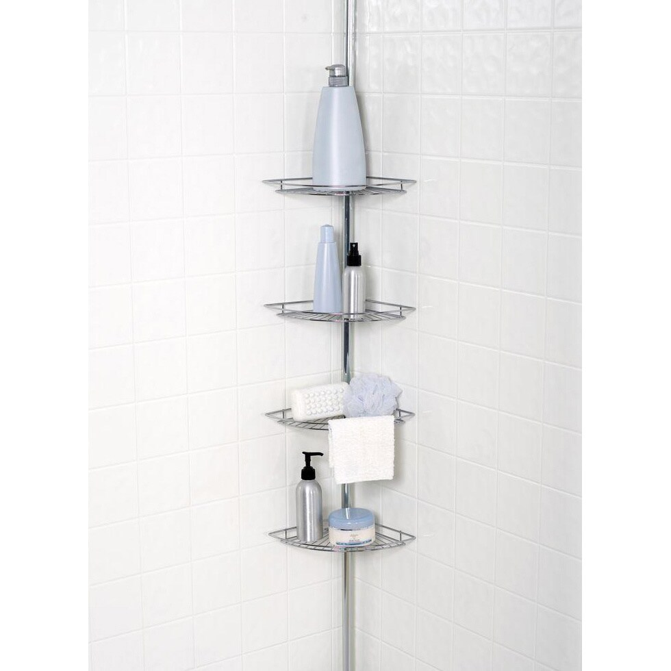 Chrome-plated 4-tier Tension Pole Corner Shower Caddy - Free ...