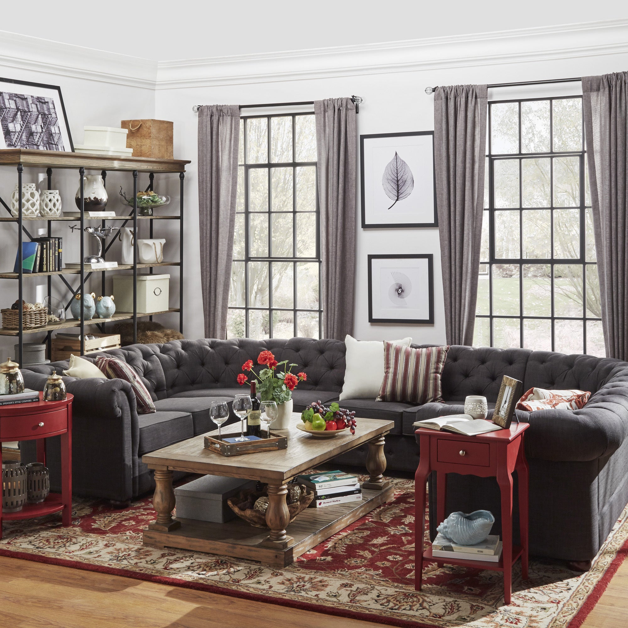 Knightsbridge Tufted Scroll Arm Chesterfield 9-seat U-shaped Sectional by  iNSPIRE Q Artisan - Free Shipping Today - Overstock.com - 18373324