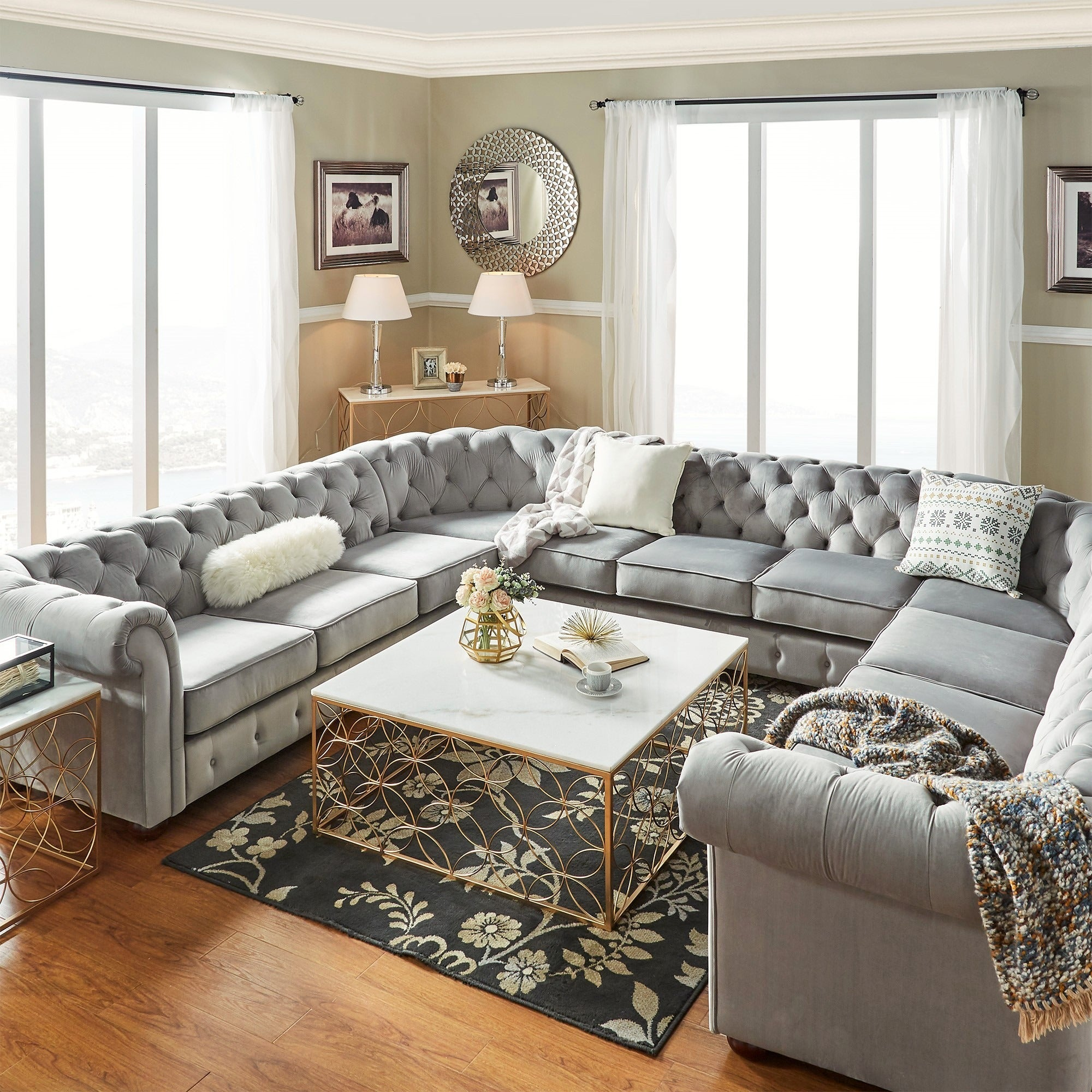 Knightsbridge Tufted Scroll Arm Chesterfield 11 Seat U Shaped Sectional By Inspire Q On Free Shipping Today 11408762