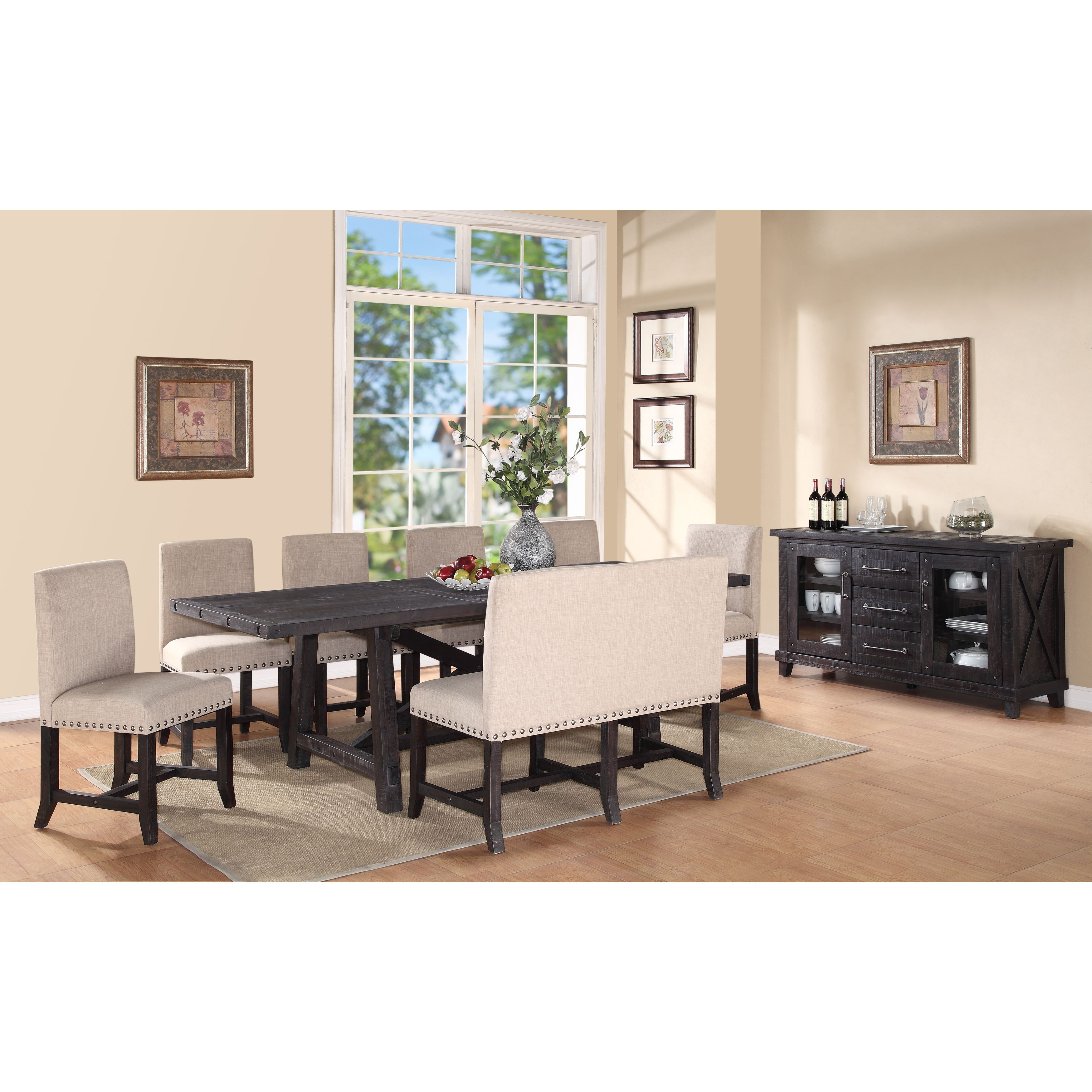 Shop Industrial Nailhead Dining Settee   Free Shipping Today    Overstock.com   11409318