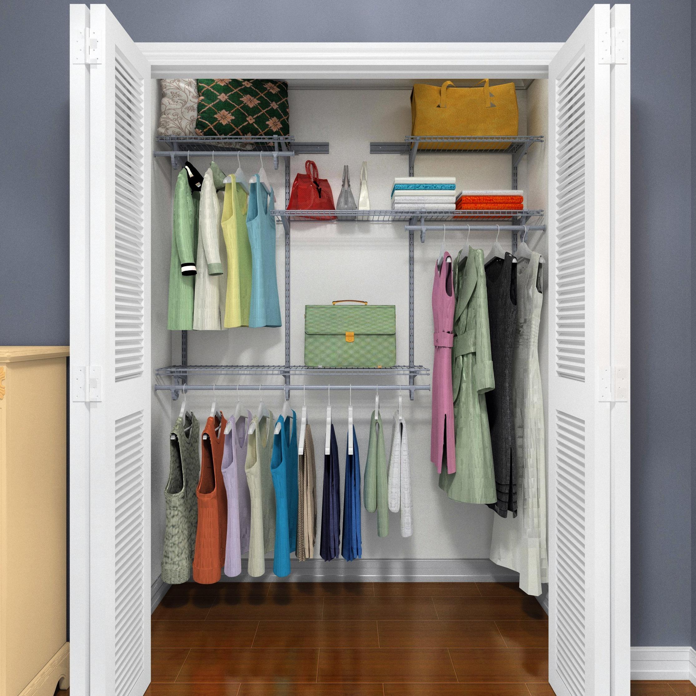 Closetmaid Shelftrack 4ft To 6ft Closet Organizer Kit Satin Chrome