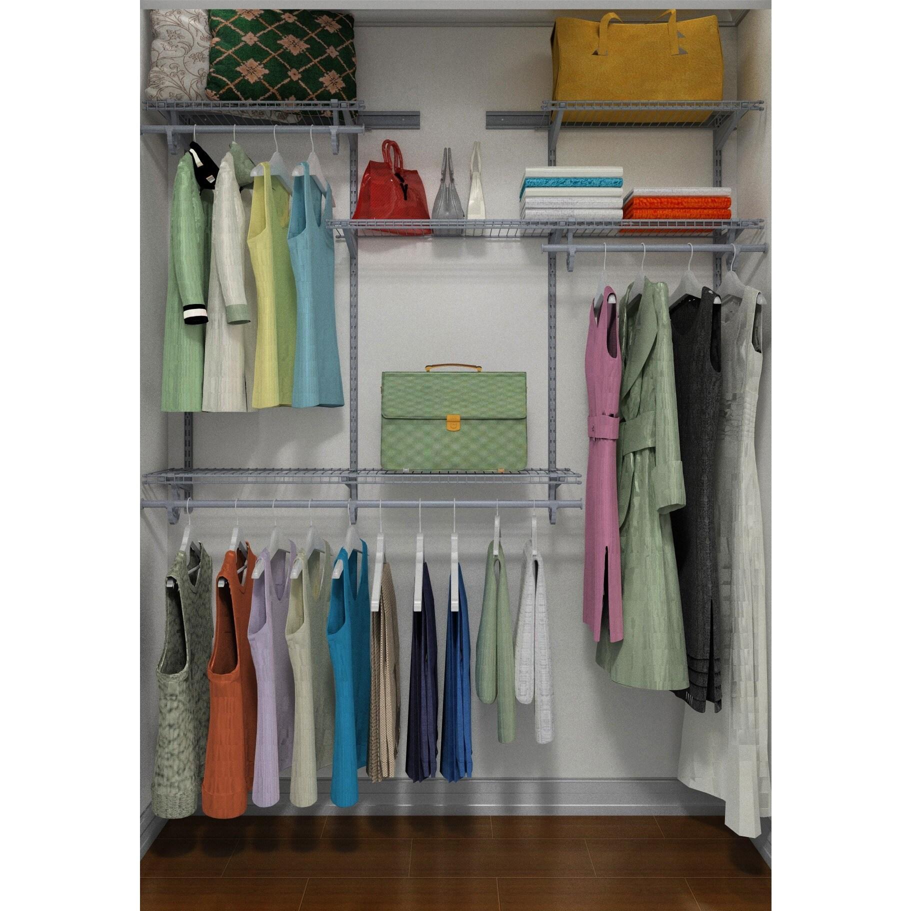ClosetMaid ShelfTrack 4ft To 6ft Closet Organizer Kit, Satin Chrome   Free  Shipping Today   Overstock.com   18373923