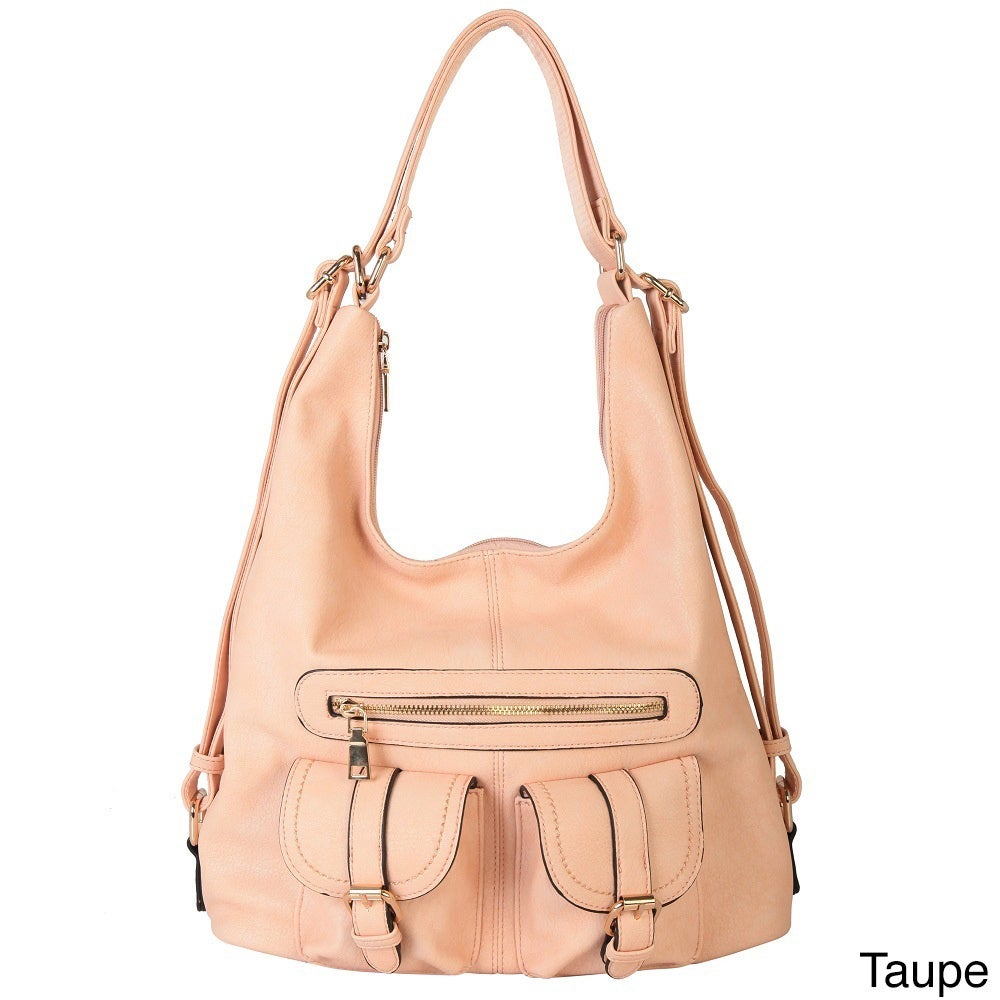 a07fd3256d52 Shop Diophy Faux Leather Double Front Pocket Hobo Handbag - Free Shipping  On Orders Over  45 - Overstock - 11412651