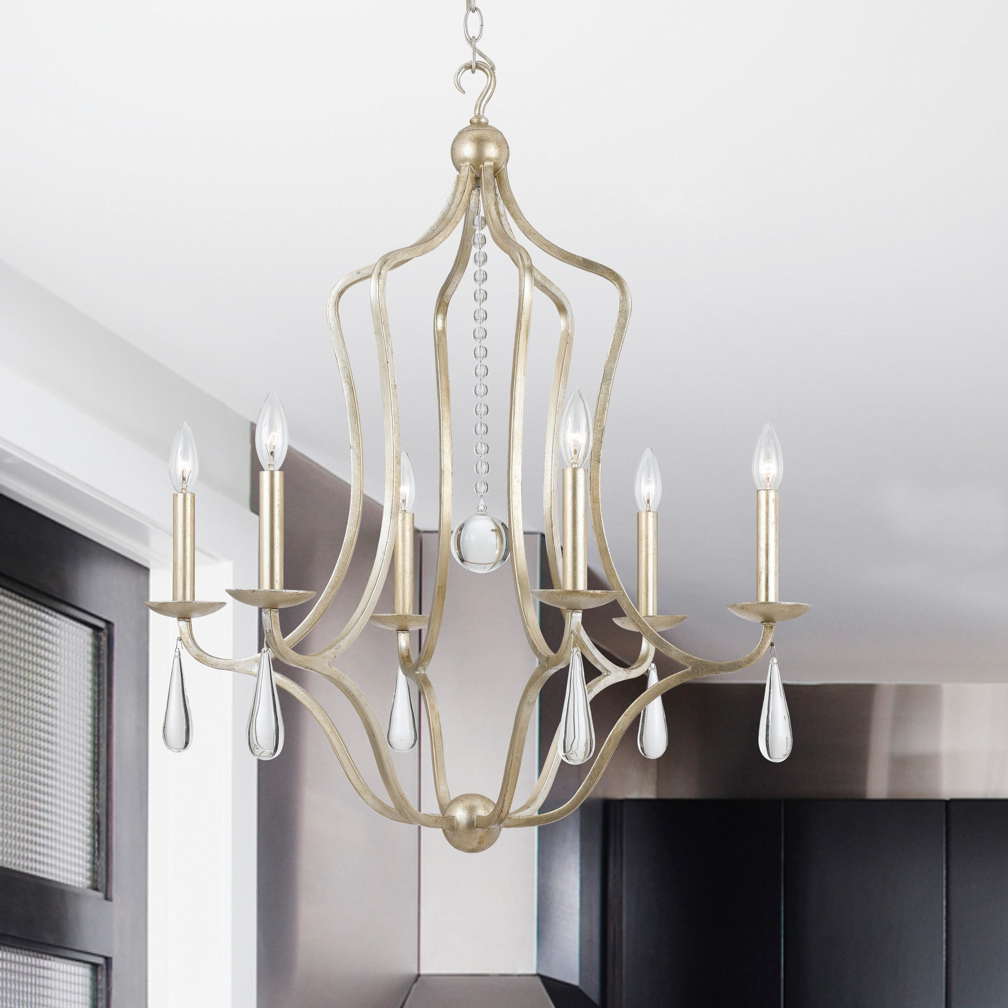 Crystorama Manning Collection 6 light Silver Leaf Chandelier