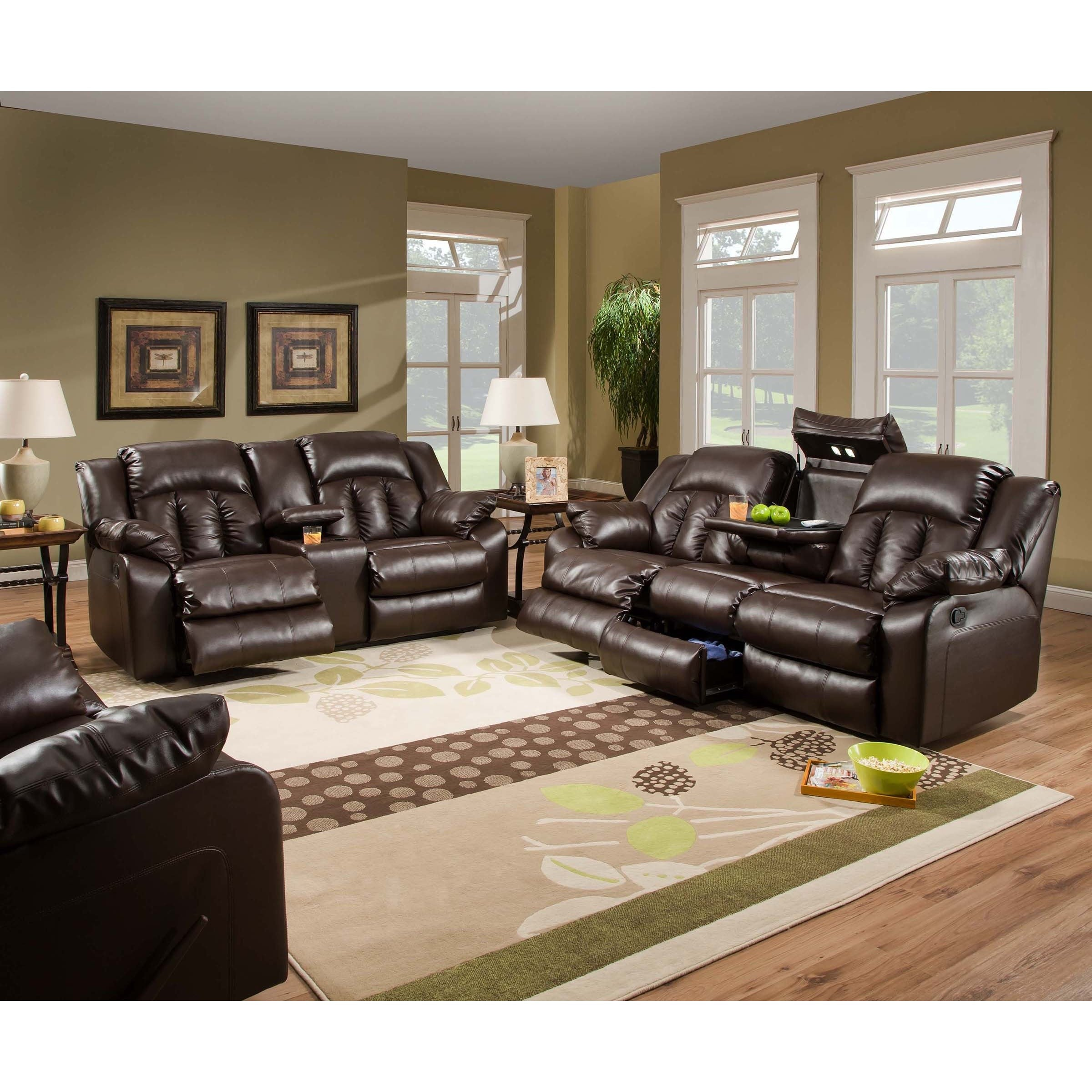 Simmons Upholstery Sebring Bonded Leather Double Motion Sofa  ~ Simmons Leather Sofa Review
