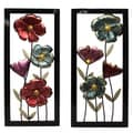 Garden Flowers Framed Metal Wall Decor - Set of 2