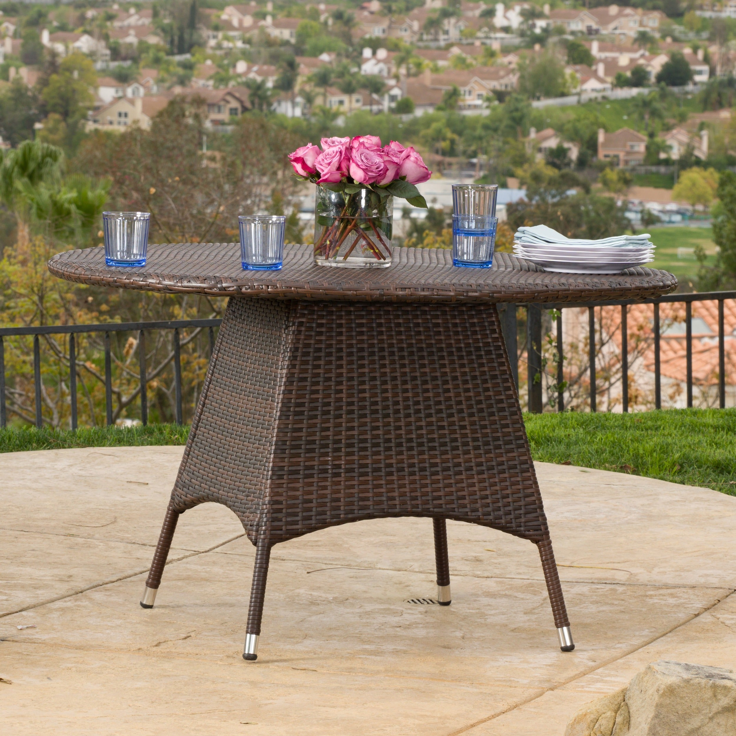 Corsica Outdoor Wicker Round Dining Table ONLY by Christopher