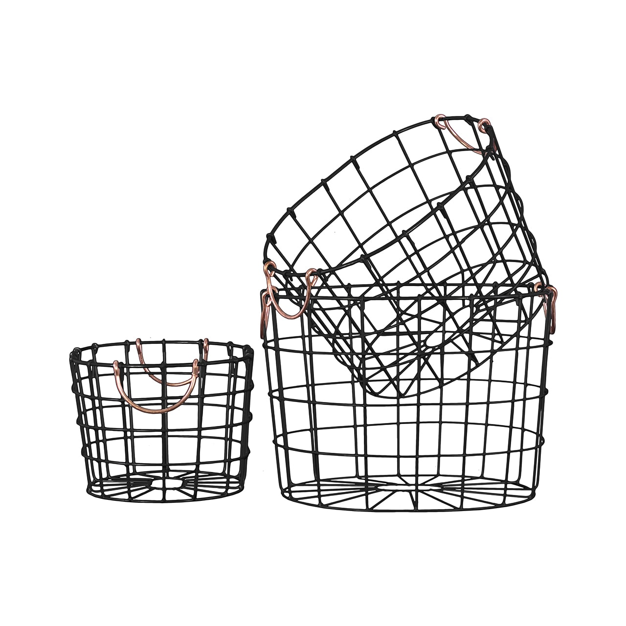 Shop Black Finish Metal Wire Round Nesting Baskets with Two Handles ...
