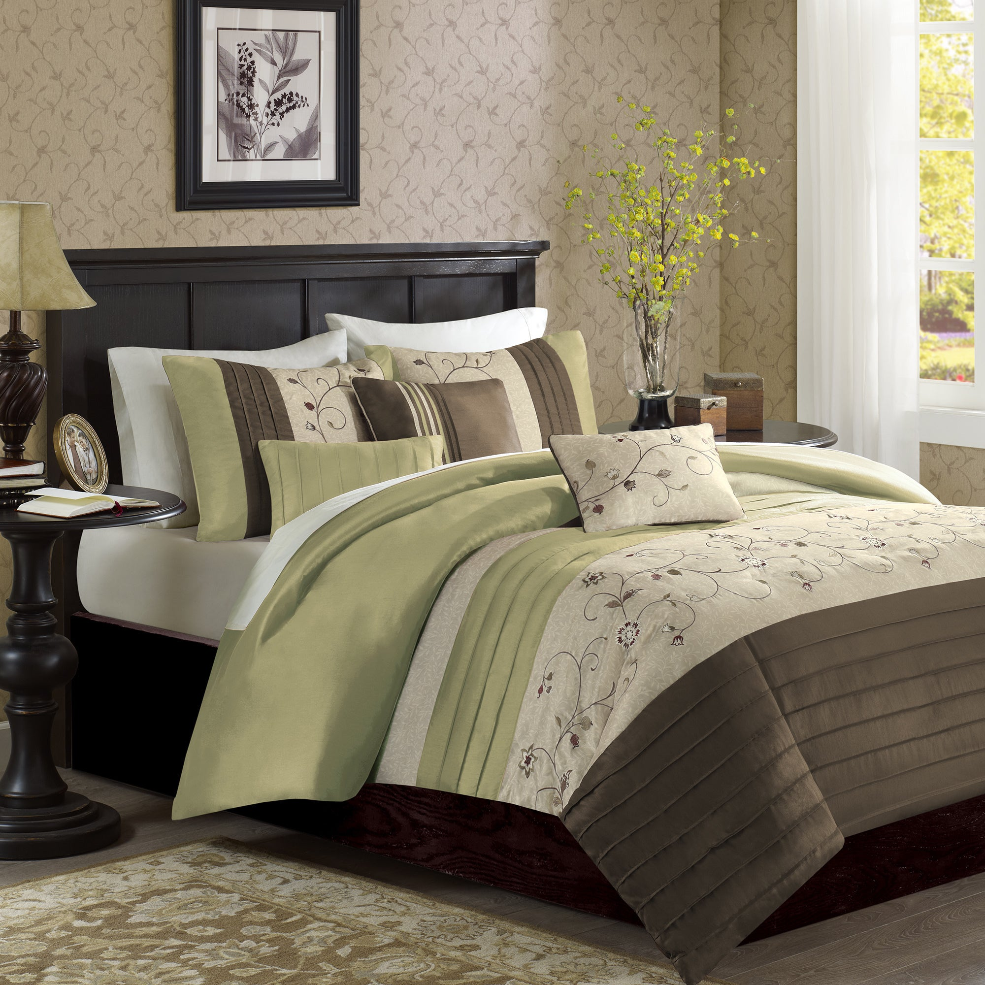 sets p set bedding floral comforter green palace ivory butterfly