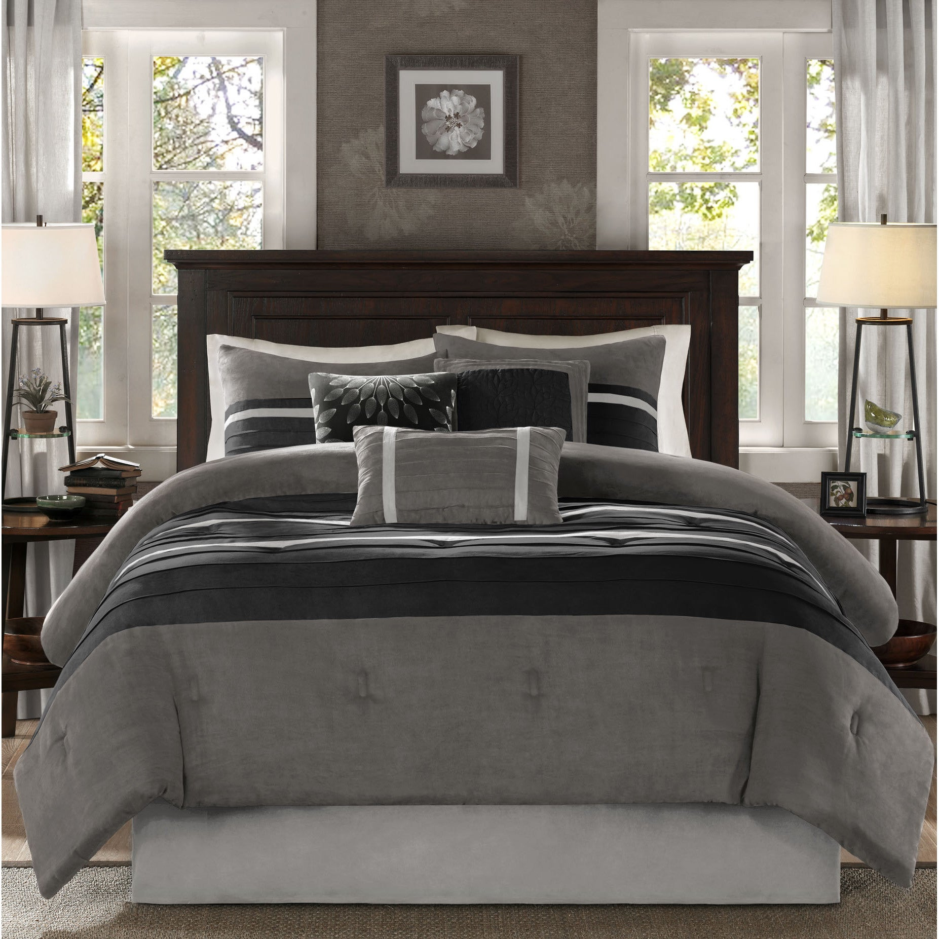 Madison Park Porter Black Grey Comforter Set On Sale Overstock 11417796