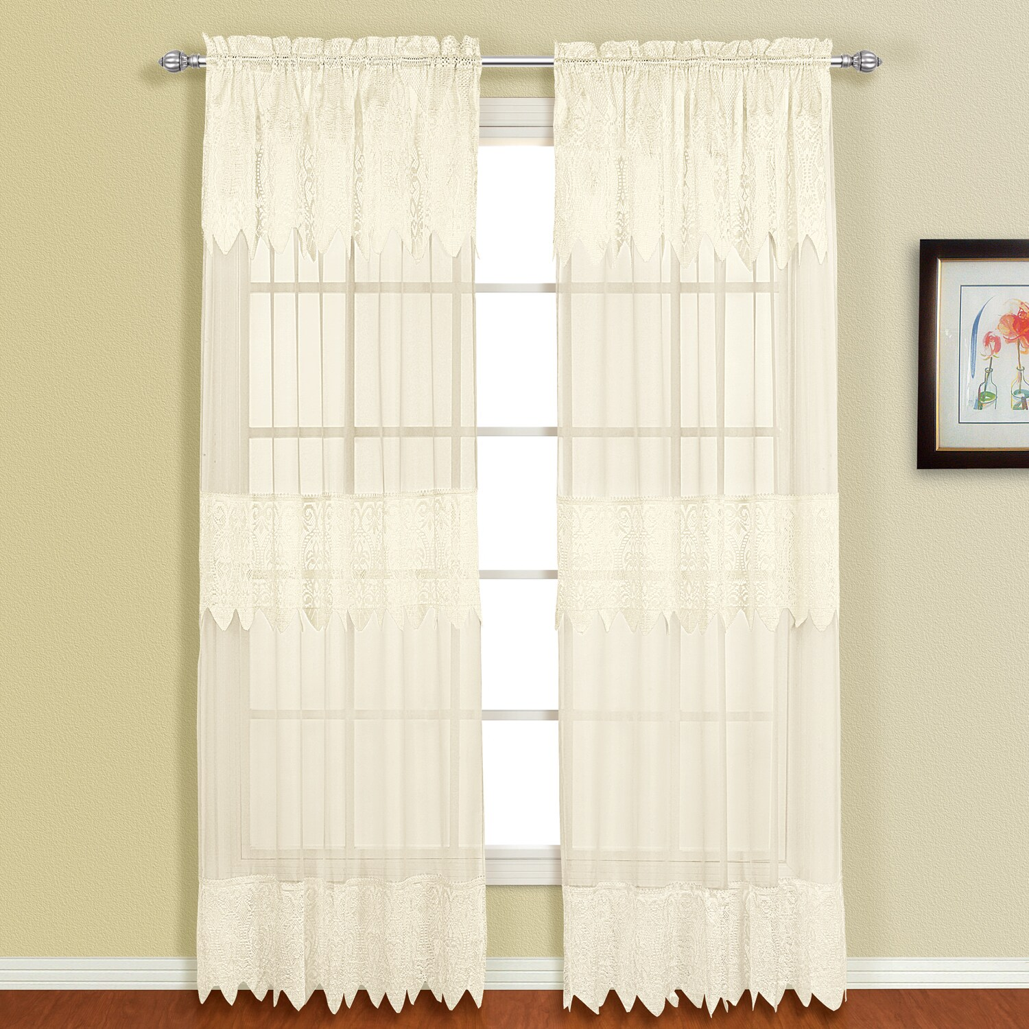 Luxury Collection Valerie Macrame and Sheer Voile Curtain Panel