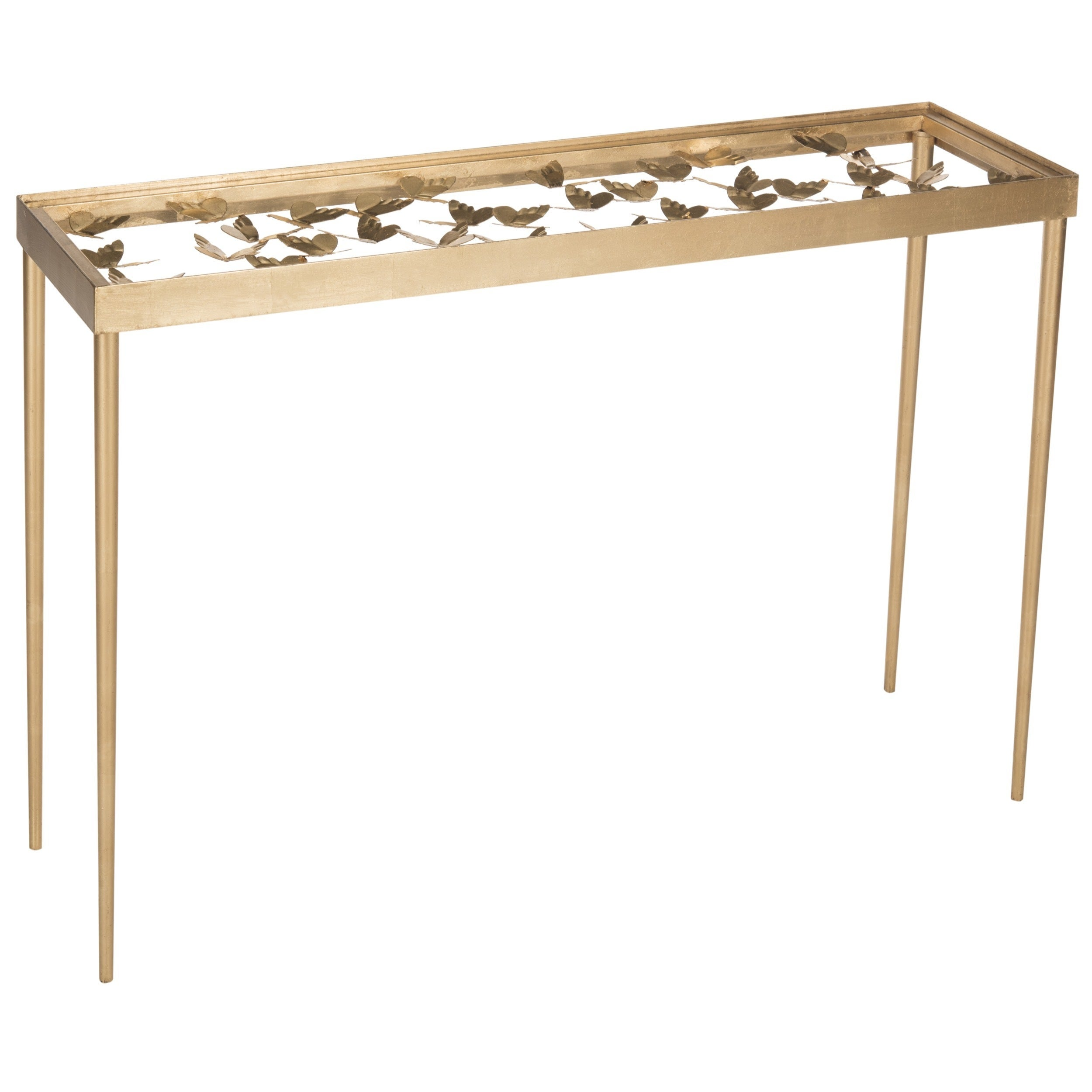 Amazing Safavieh Rosalie Antique Gold Leaf Butterfly Console Table   Free Shipping  Today   Overstock   18383425
